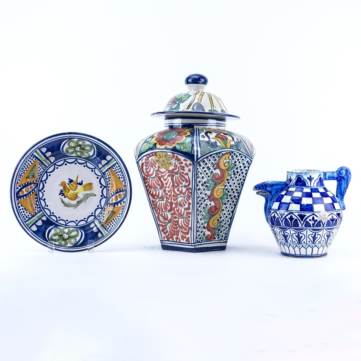 Grouping of Three (3): Large Mexican Faience Pottery Covered Jar, Faience Pottery Cabinet Plate, an