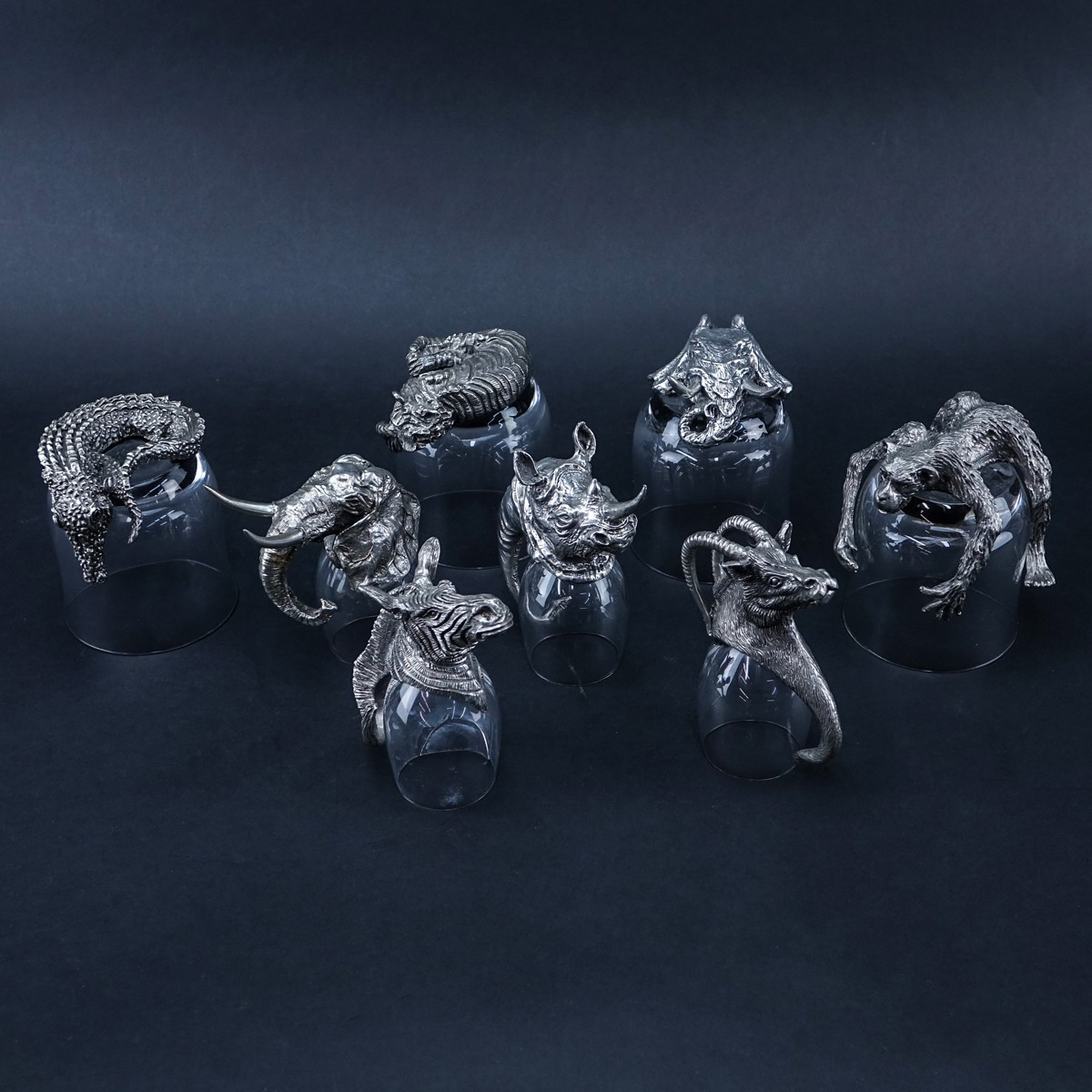 Frankli Wild Royal Selangor Pewter and Glass Barware. Eight (8) glasses with South African animal f