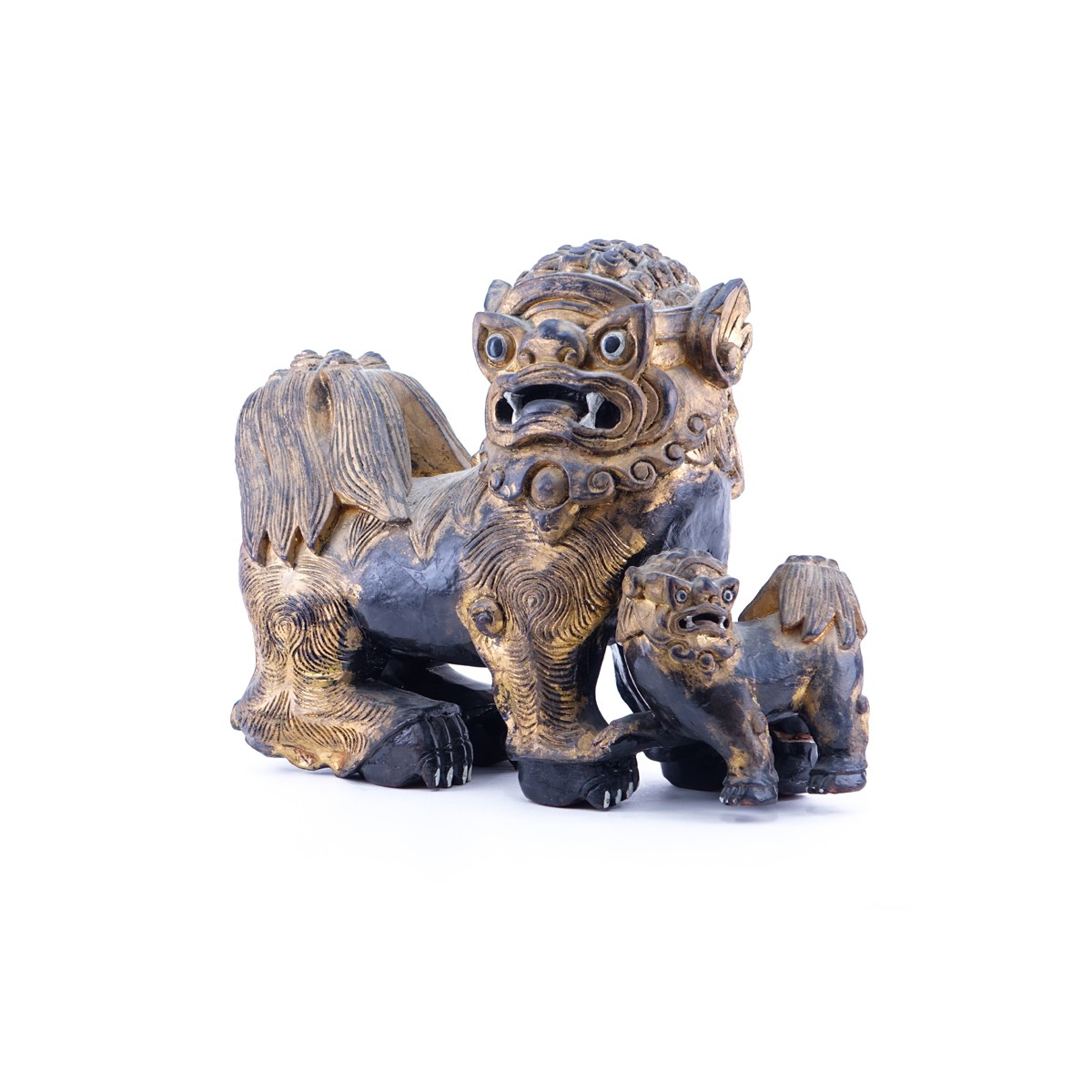 "Large Modern Chinese Carved Wood Foo Dog Group. Unsigned. Wear, rubbing. Measures 17"" T x 22"" L.  ("
