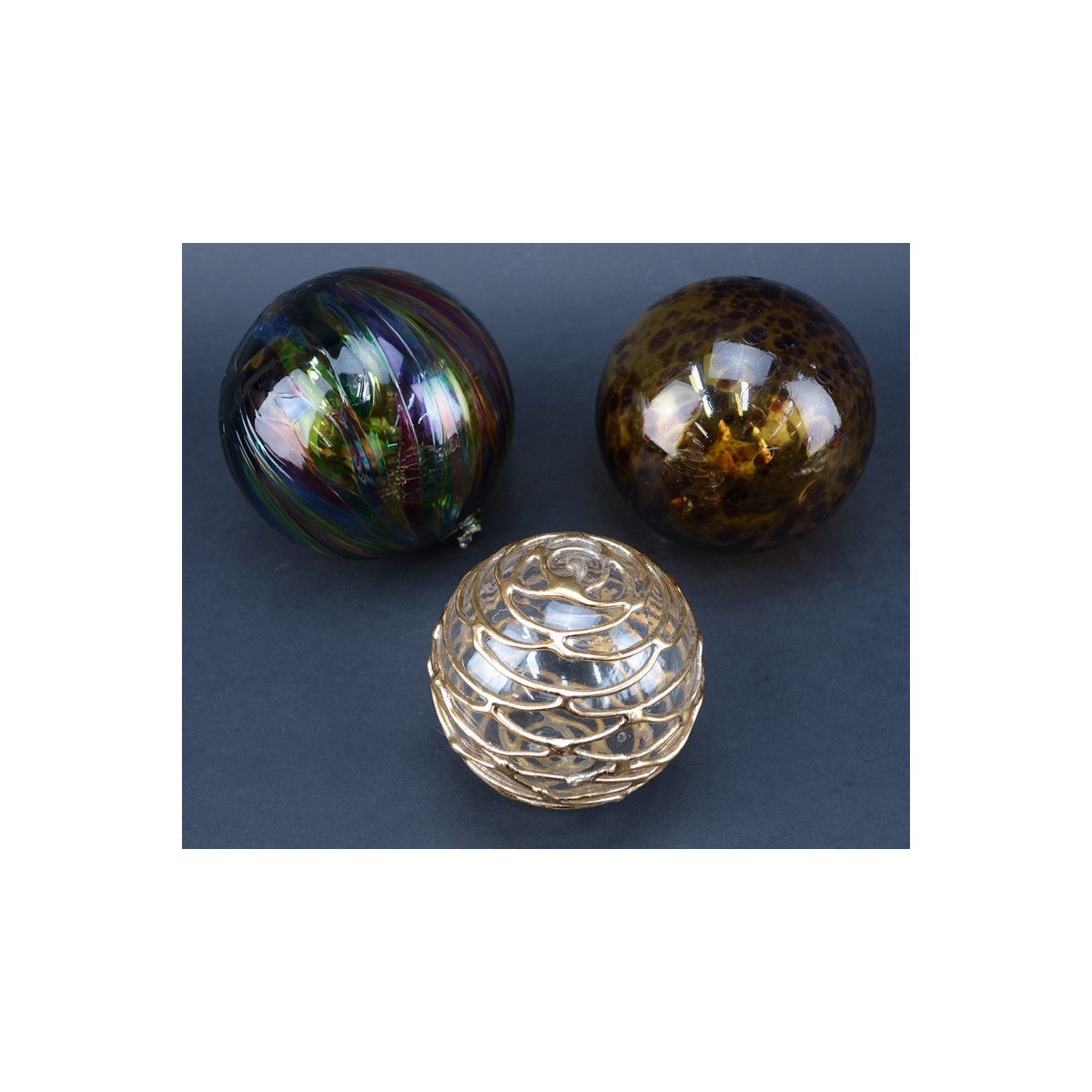 Group of Nine (9): Six Vintage Glass Paperweights along with Three Art Glass Spheres. Label attache