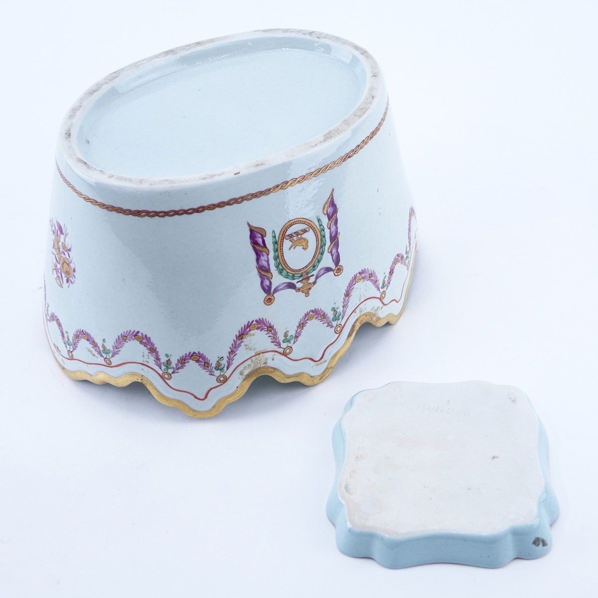 Two (2) Pieces Modern Chinese Export Style Porcelain Table Top Items. Includes an unsigned cachepot