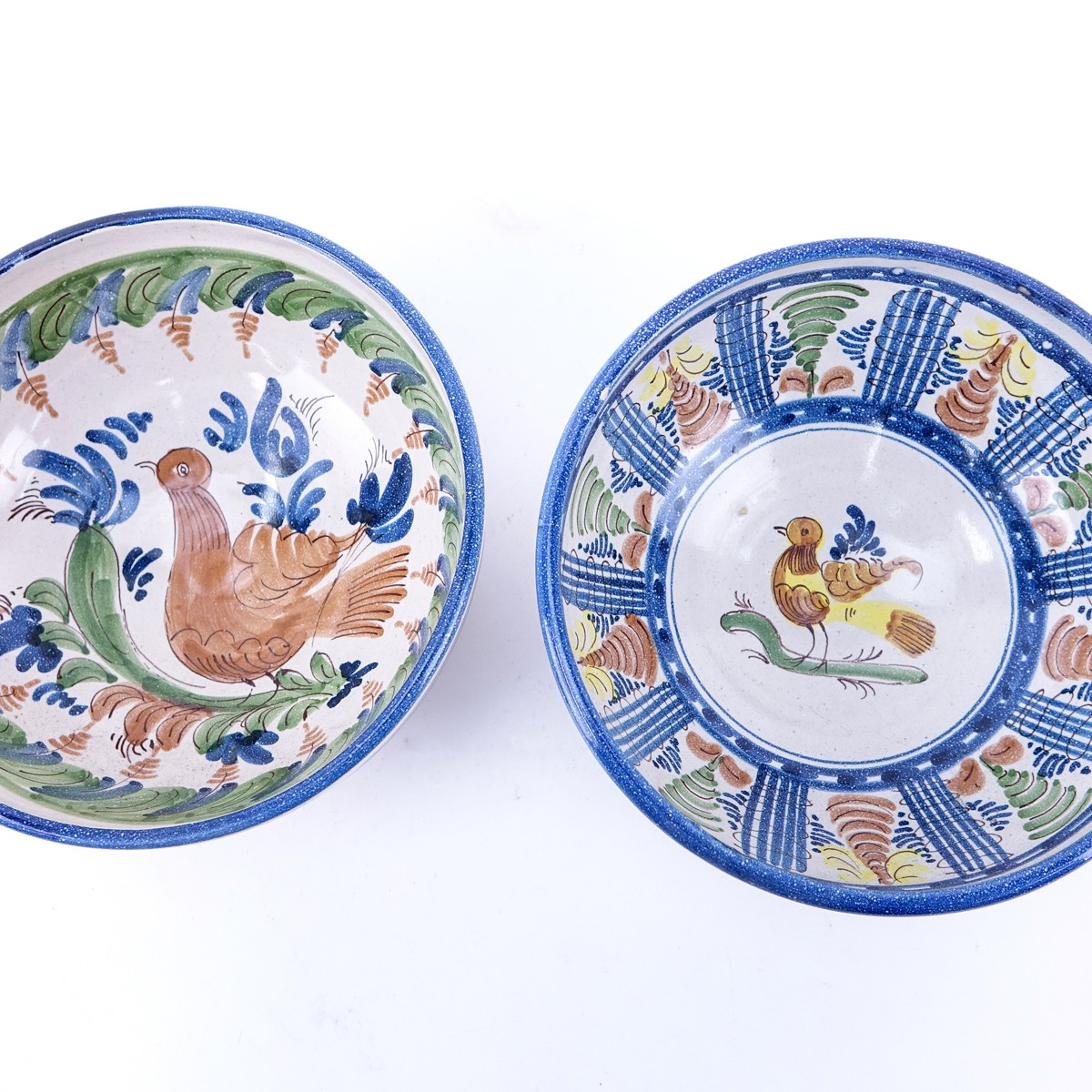Two (2) Decorative Spanish Style Bird Motif Pottery Bowls. Unsigned. One with small flake or in goo