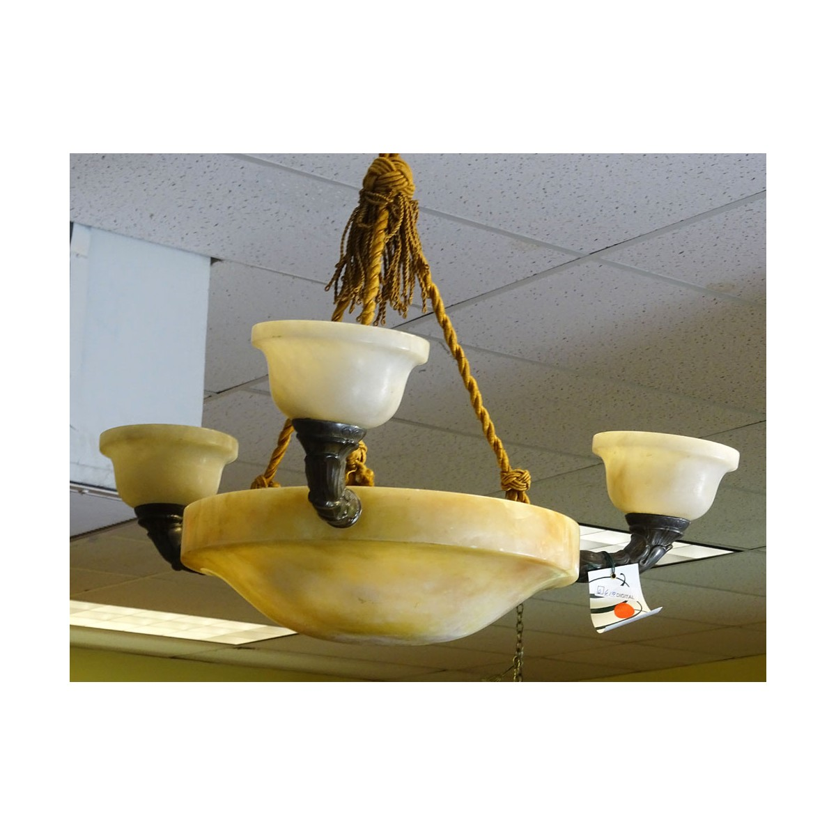 Art Deco Alabaster and Bronze Three (3) Light Chandelier. Bronze arms with Foliate Motif. Measures