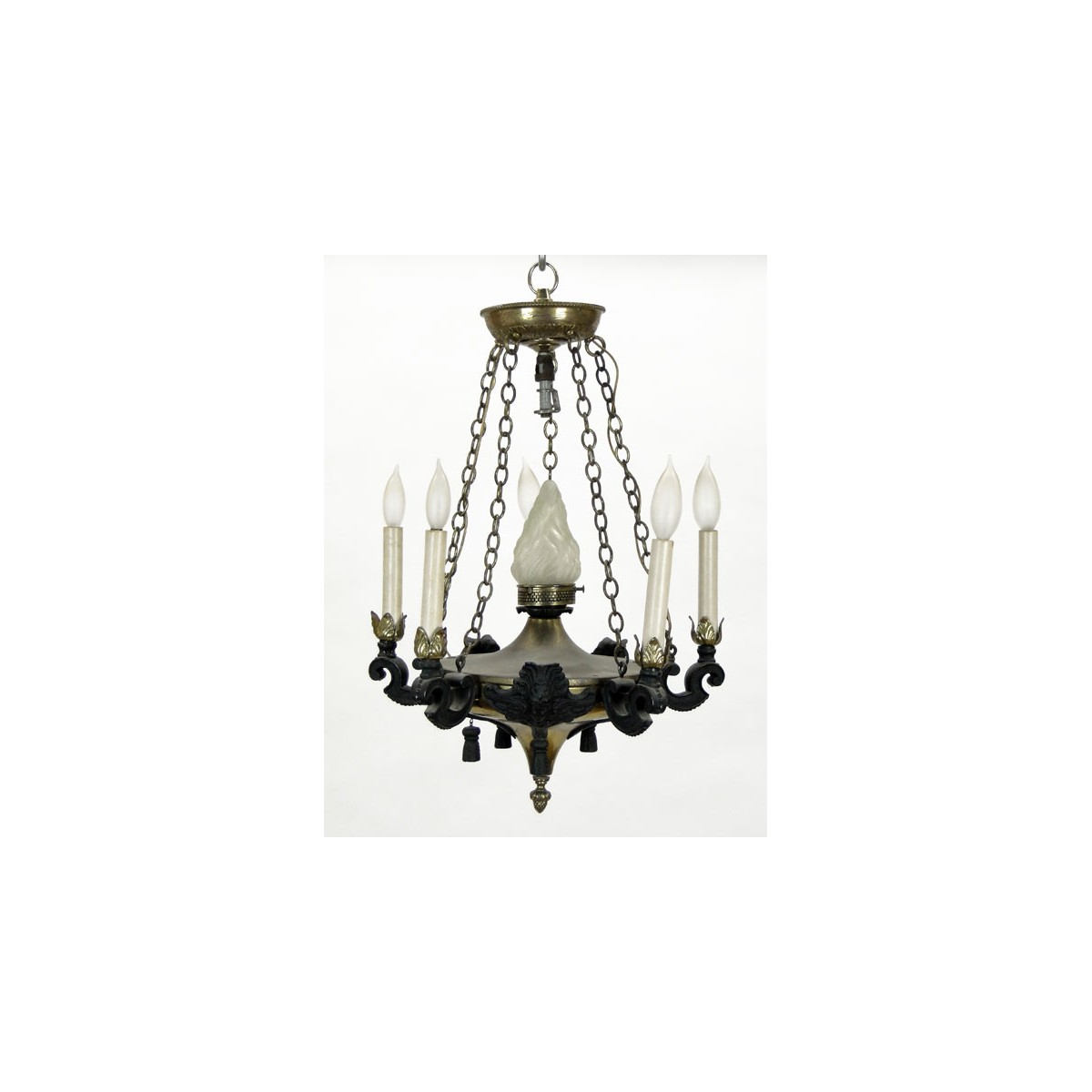 Early 20th Century Neo-Classical Style Six (6) Light Gilt Metal and Patinated Metal Chandelier. Uns