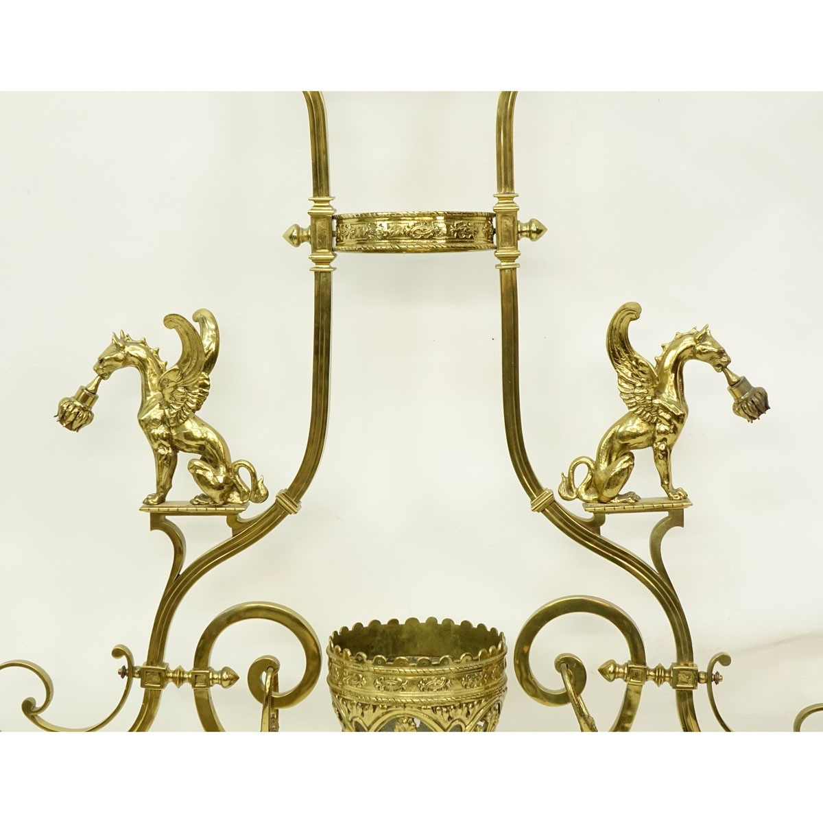 Large Gothic Style Gilt Bronze Two Arm Billiard Light Fixture with Amber Color Glass Shades. Good c