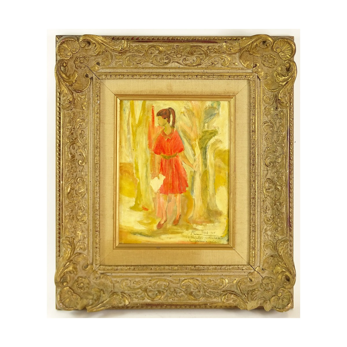 "Manuel Bordogna, Venezuelan (20th C) Oil on board ""Girl in Woods"" Signed and titled lower right. Go"