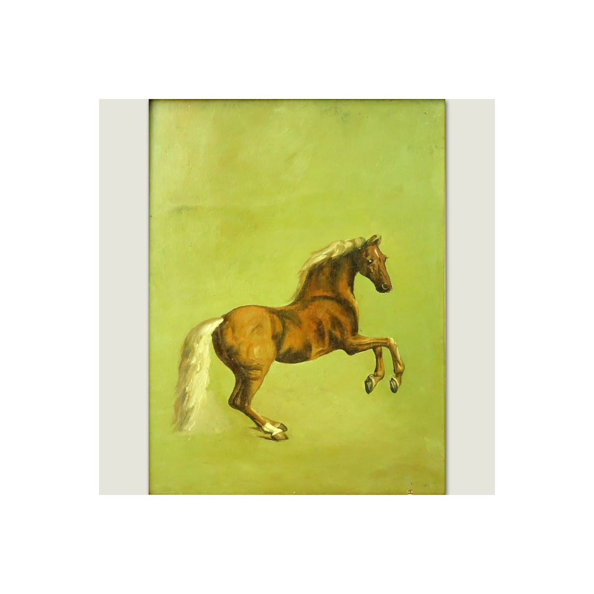 "20th Century Oil On Board ""Horse"". Unsigned. Minor losses. Measures 16"" x 12"", frame measures 24-3/"