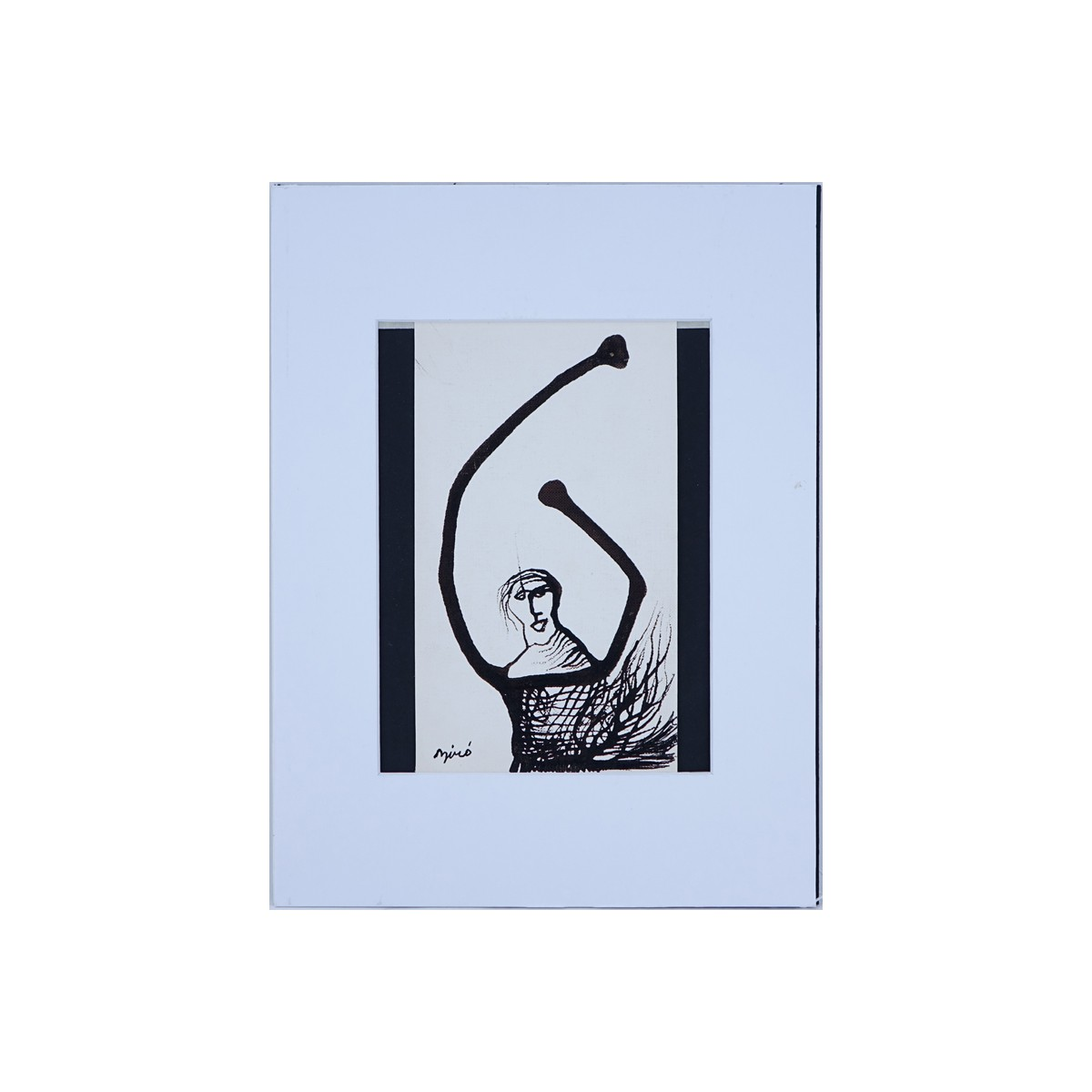 "Antal Biro, French (1907 - 1990) Ink on card ""Abstract Figure"". Signed lower left. Good condition."