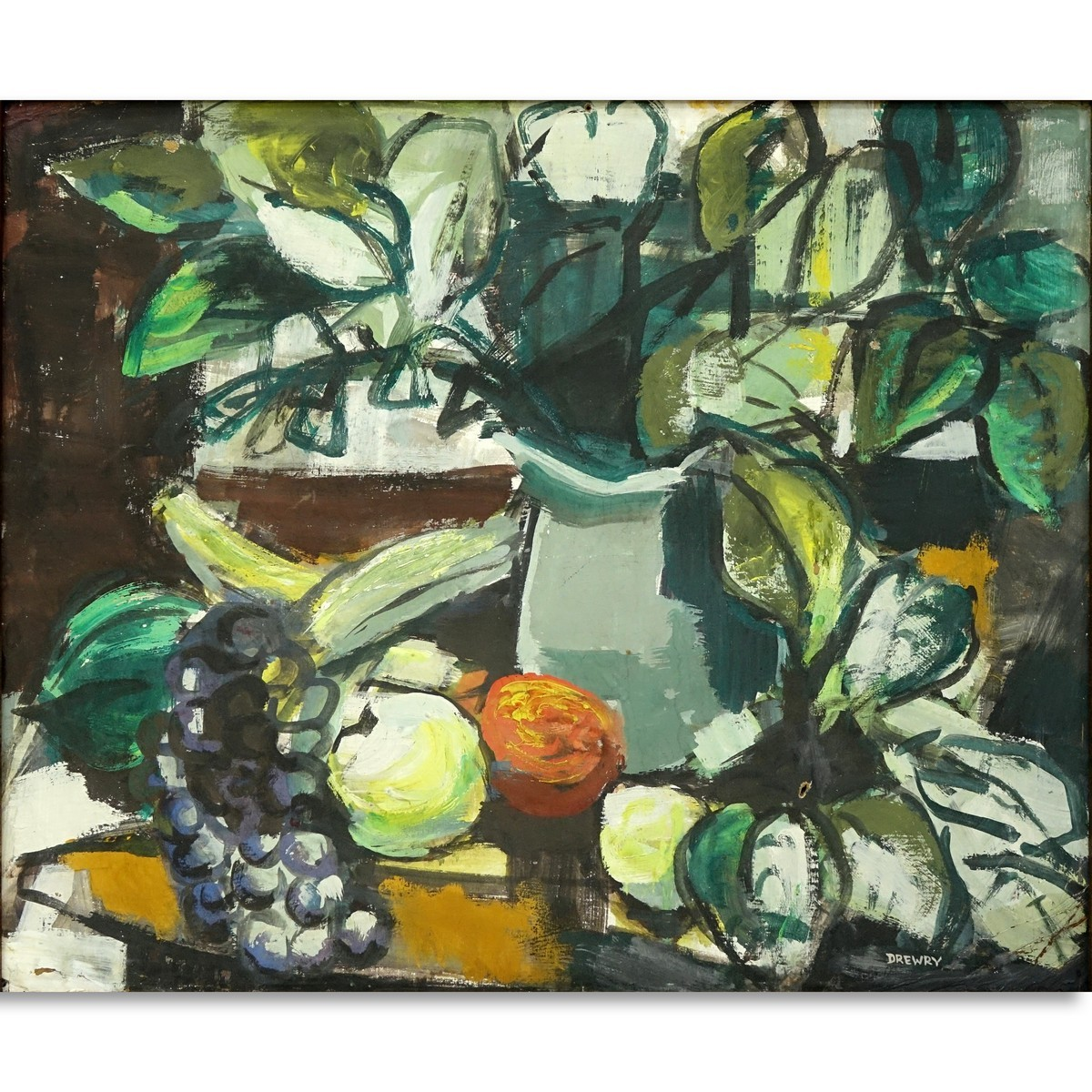 Marguerite Drewry, American (20th C) Oil on Board, Still Life Fruits, Signed Lower Right. Document
