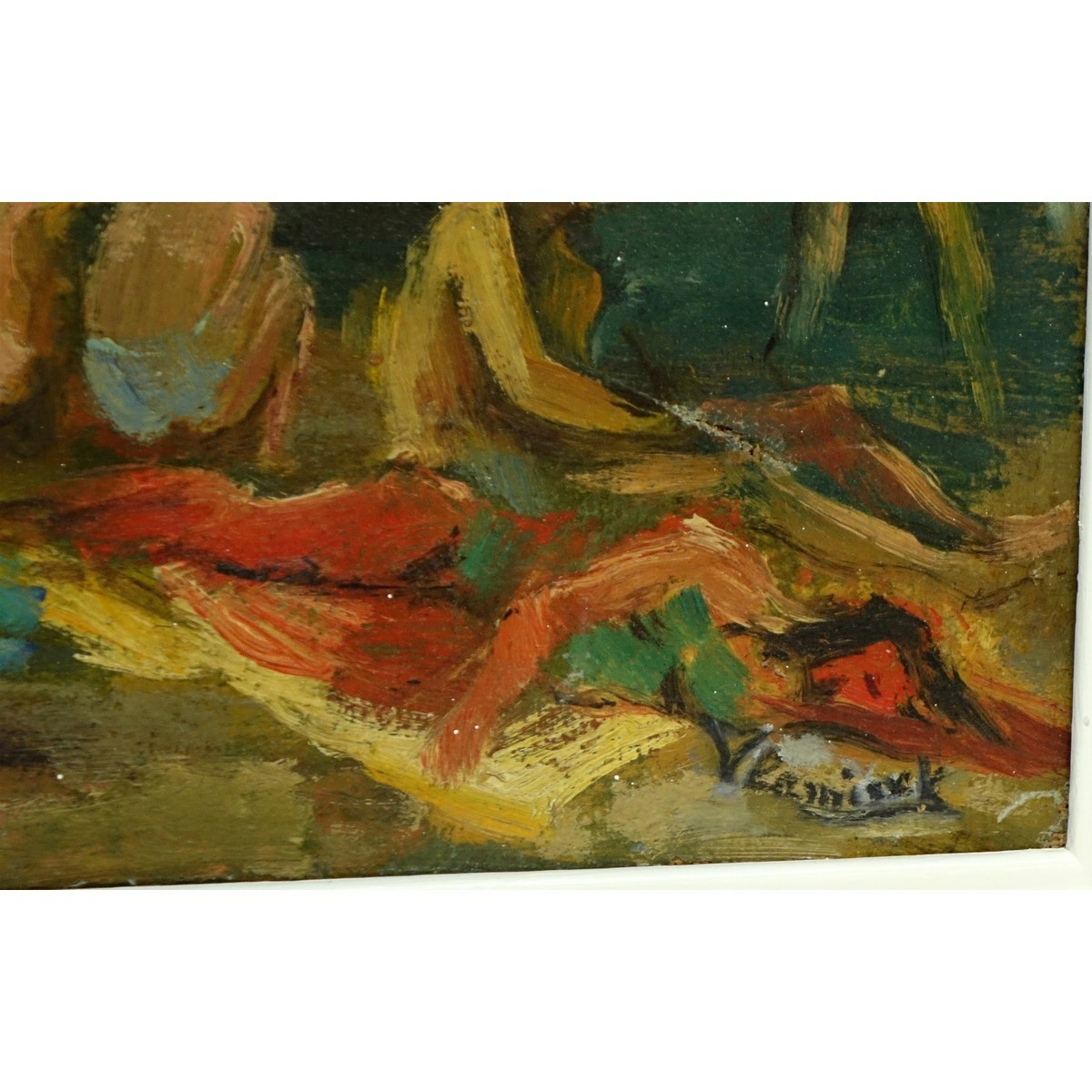 "20th Century Oil on Canvas ""Beachgoers"" Bears signature lower right Vlaminck. Small losses, craquel"
