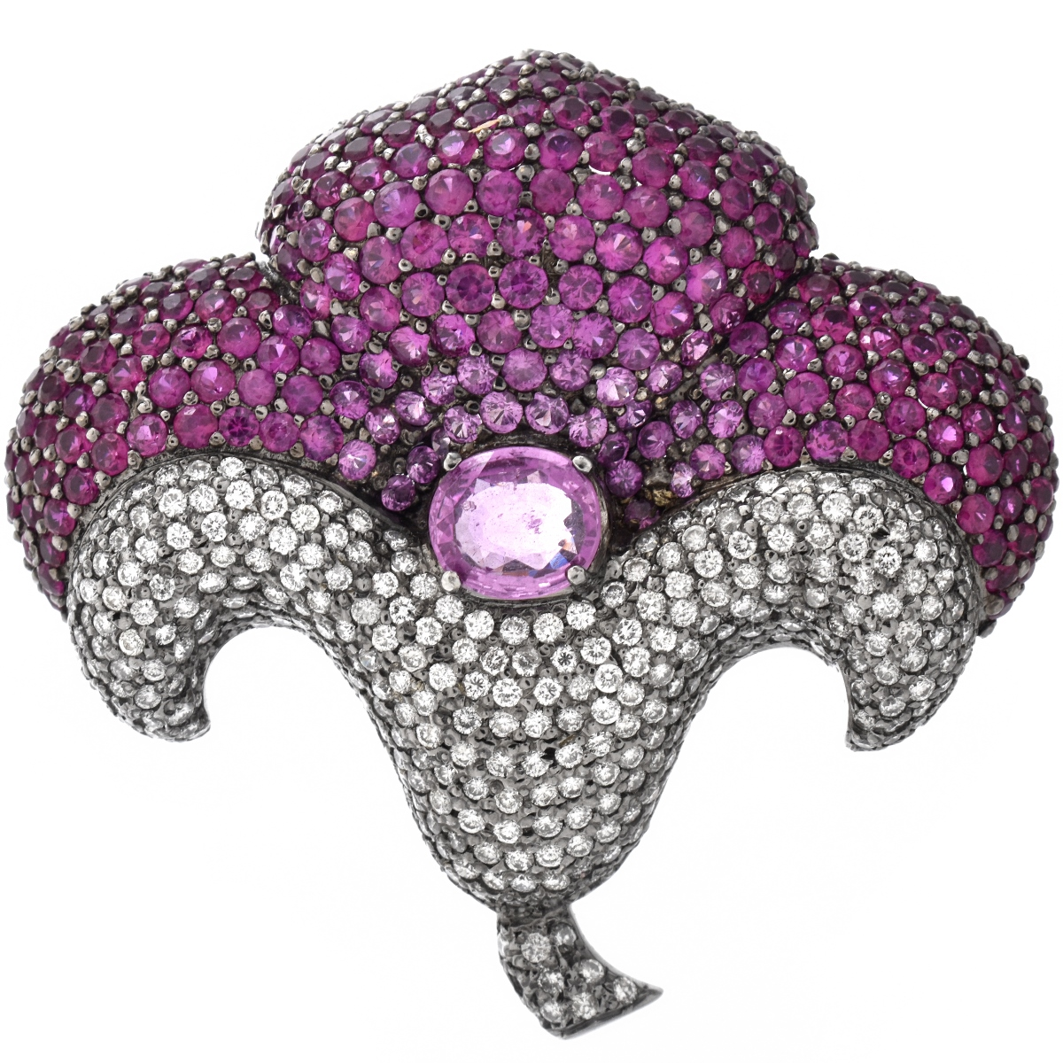 Sapphire, Diamond and 18K Brooch
