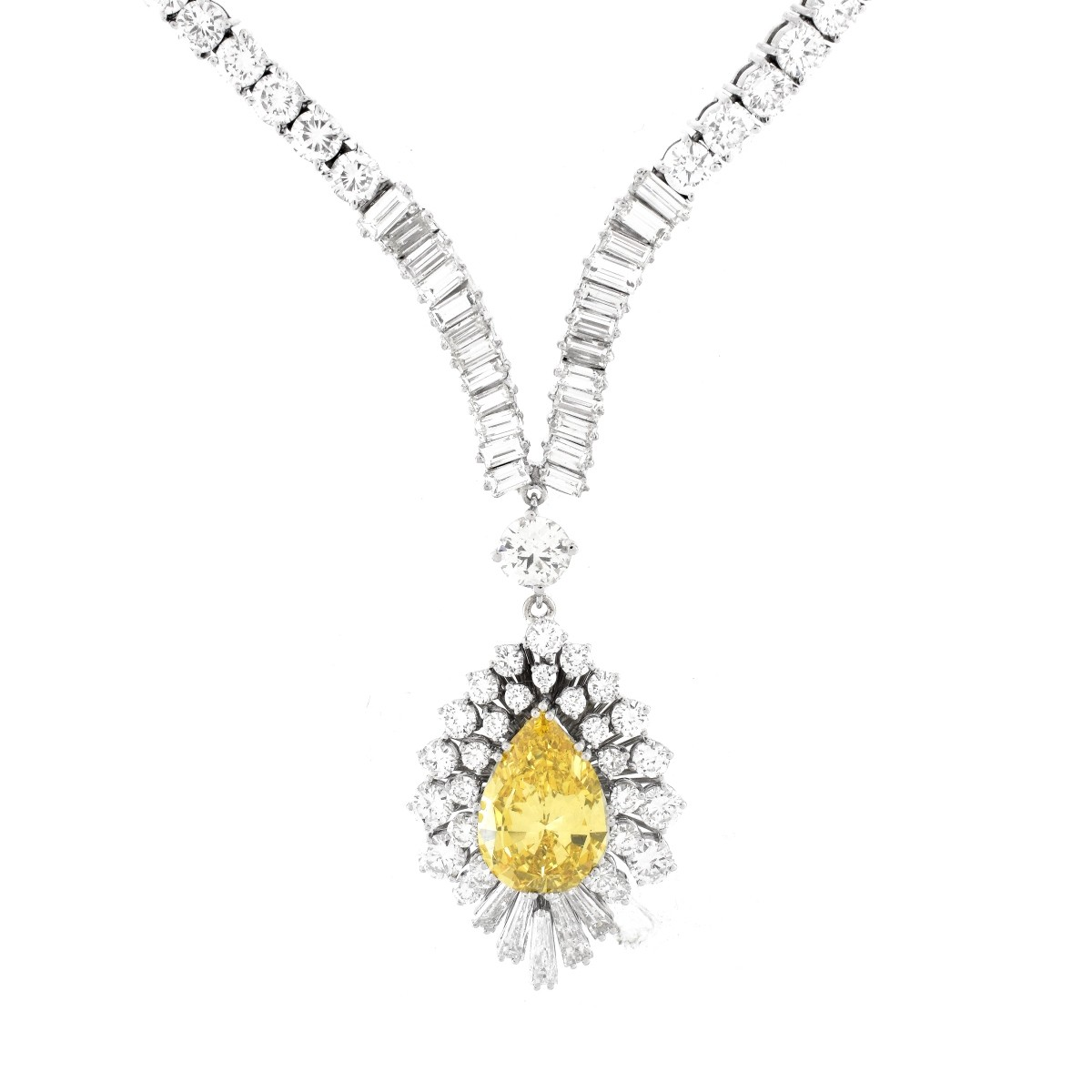 GIA 25.72 Carat TW Diamond and Platinum Necklace