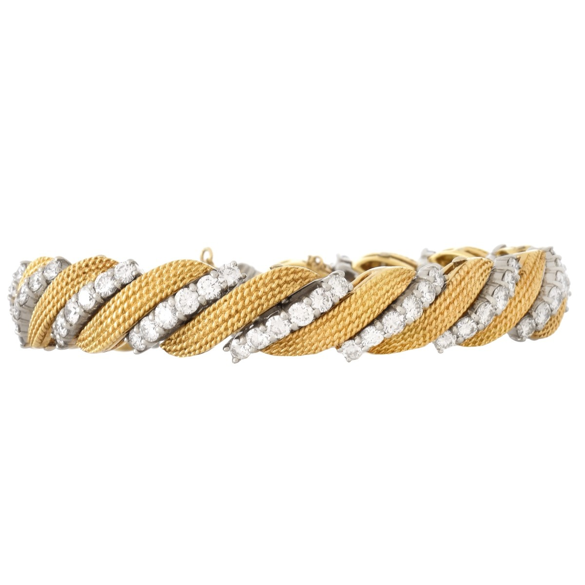 10.0ct TW Diamond and 18K Gold Bracelet