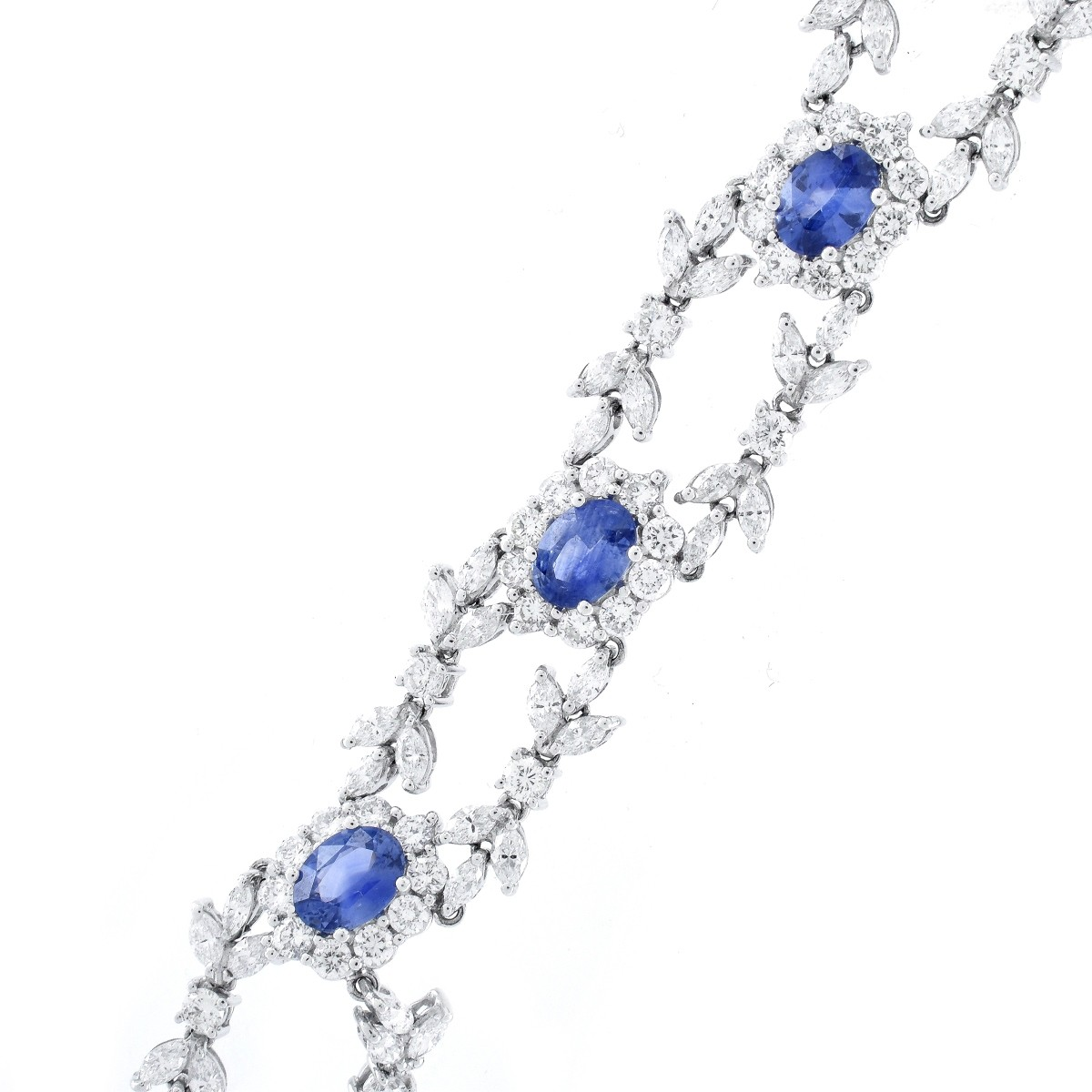 Diamond, Sapphire and 18K Gold Bracelet.