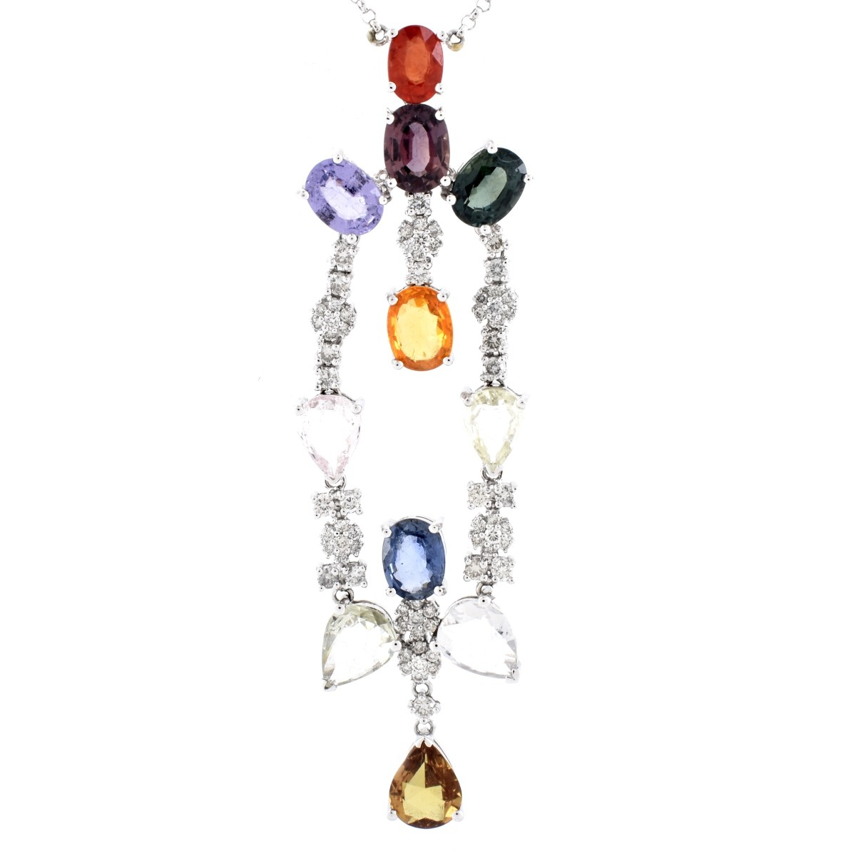 Multi Gemstone, Diamond and 18K Gold Necklace