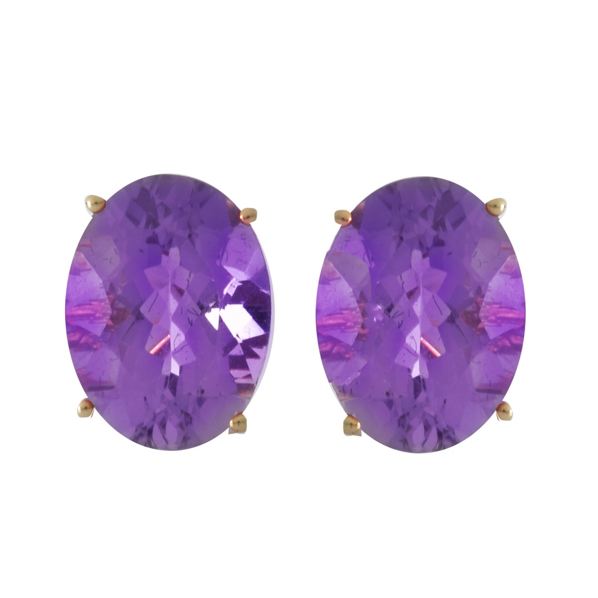 Amethyst and 14K Gold Earrings