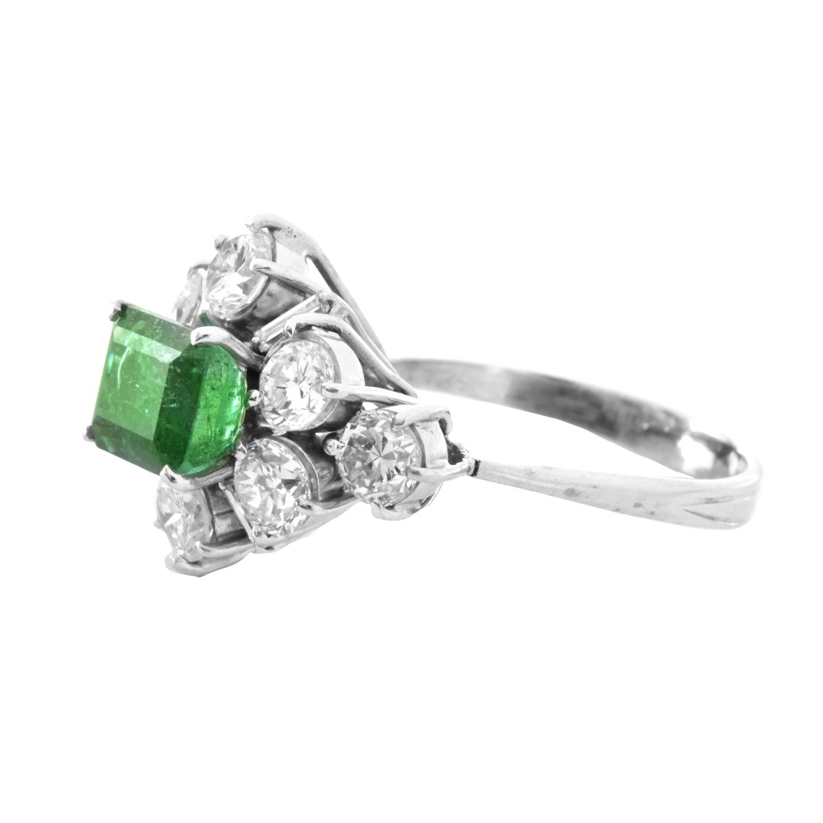 Diamond, Emerald and Platinum Ring