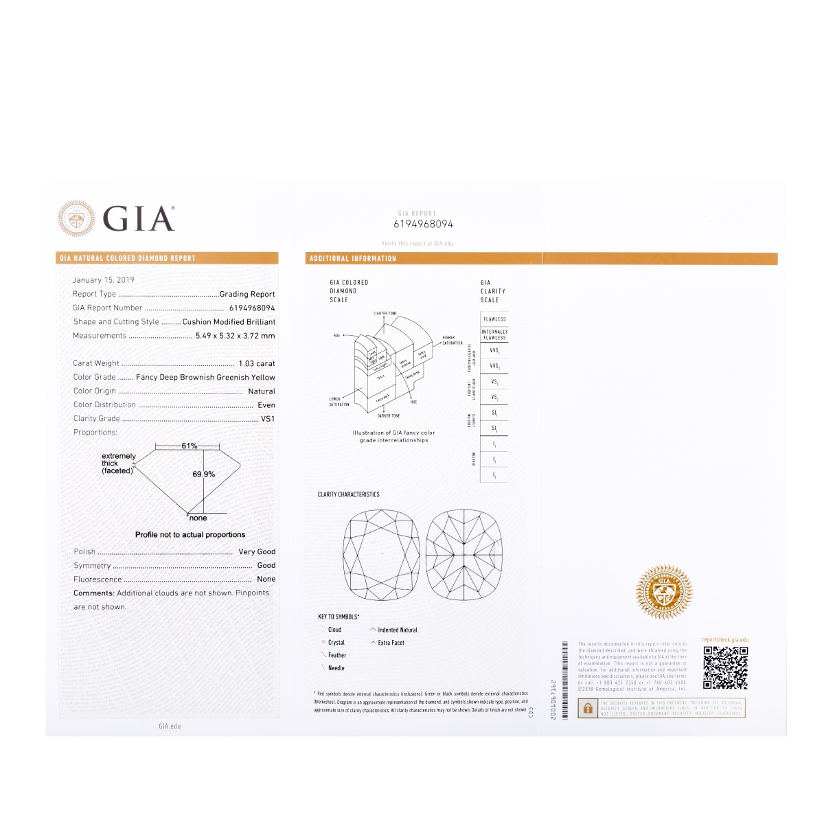 GIA 1.03 CT Cushion Cut Diamond
