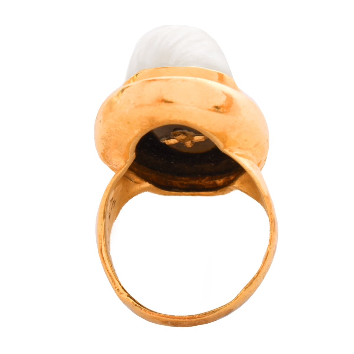 Mabe Pearl, Onyx and 14K Ring