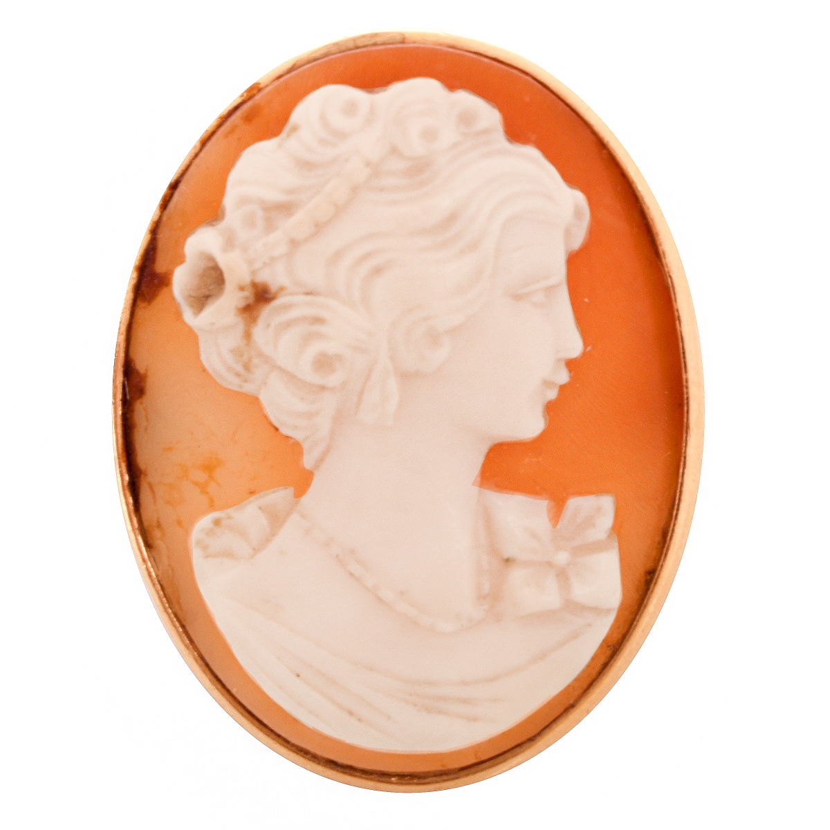 Carved Shell Cameo and 14K Ring