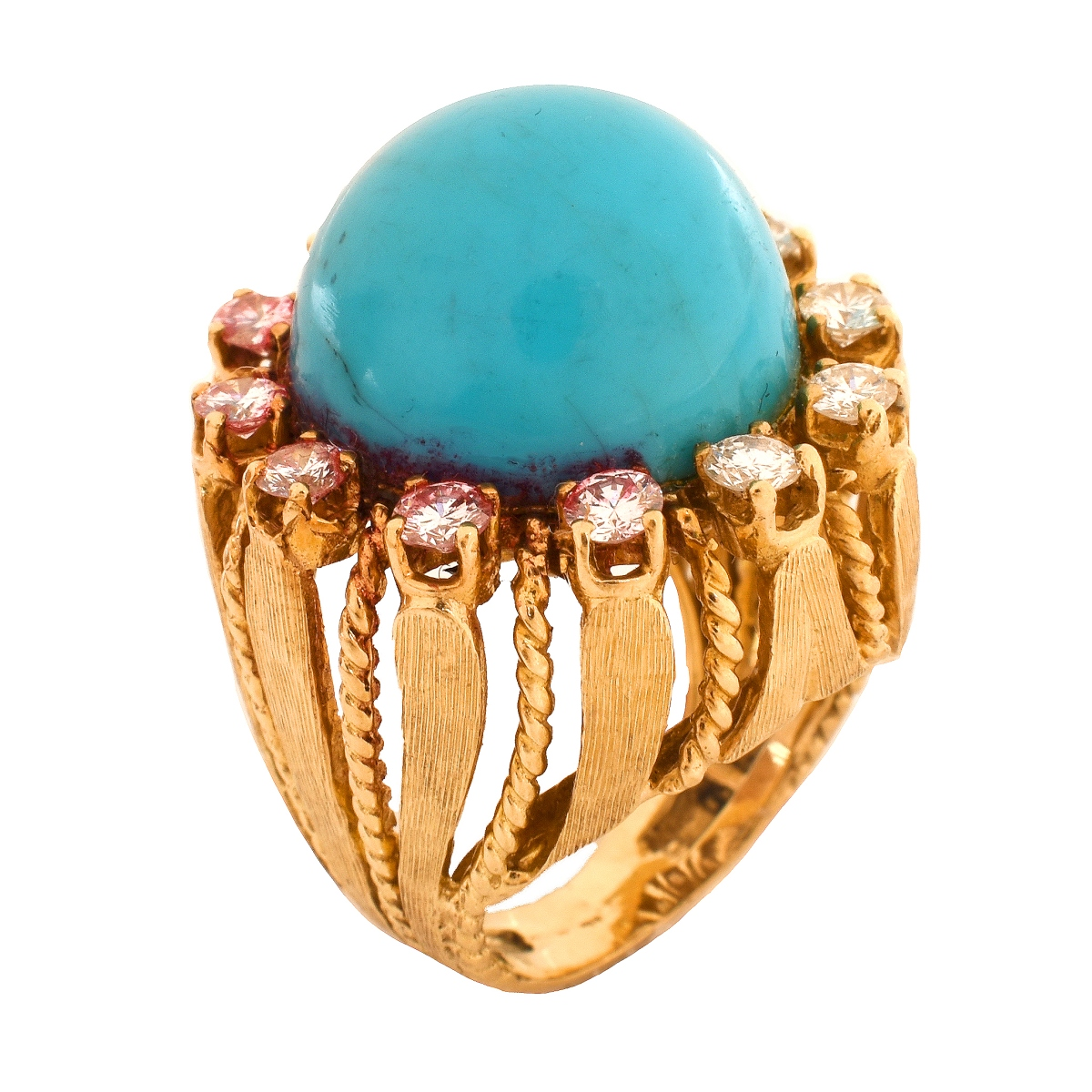 Vintage Turquoise, Diamond and 14K Ring