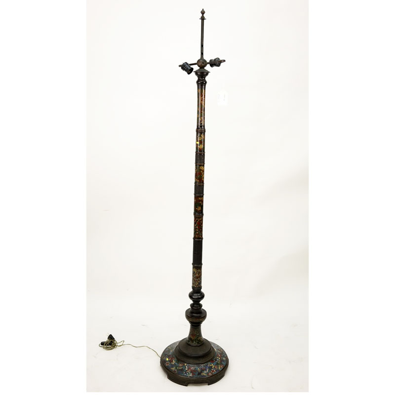 Japanese Bronze and Champleve Floor Lamp.
