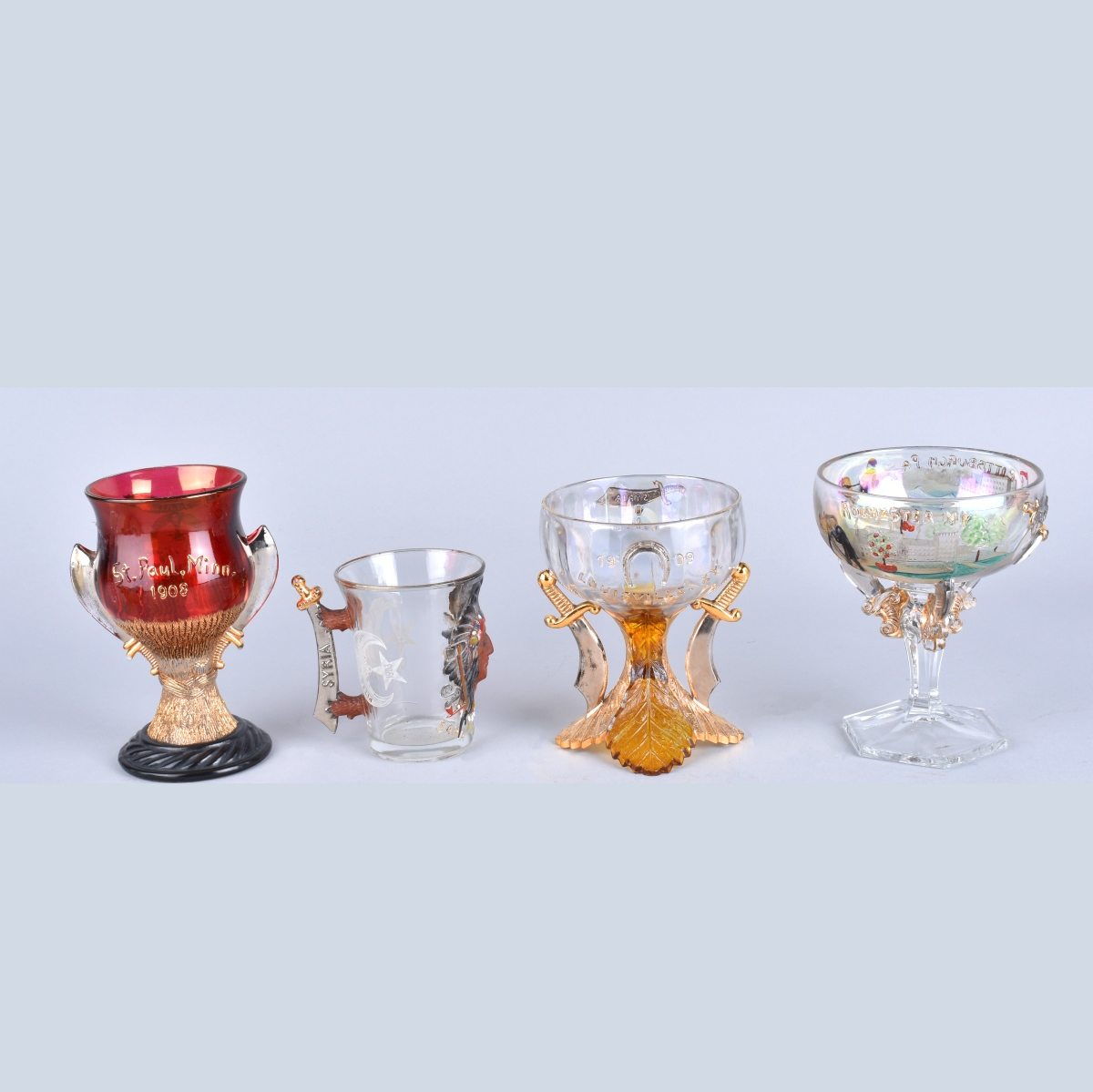 Four Antique Masonic Glassware