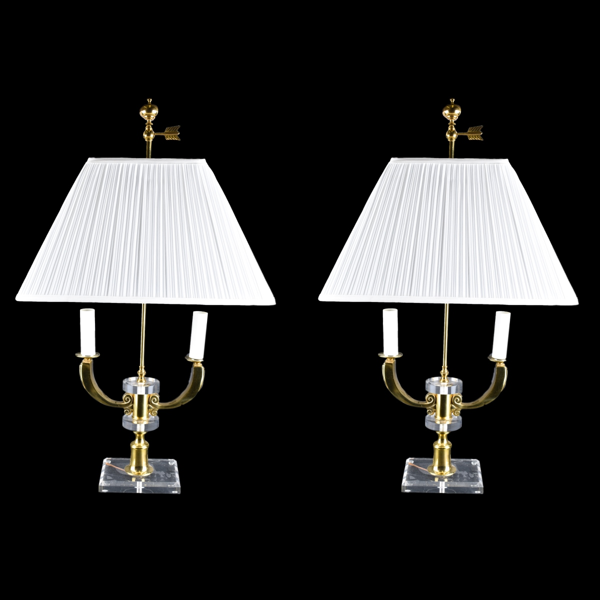 Pair Brass & Lucite Lamps