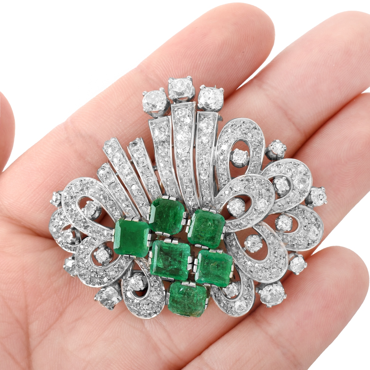 Art Deco Diamond and Emerald Brooch