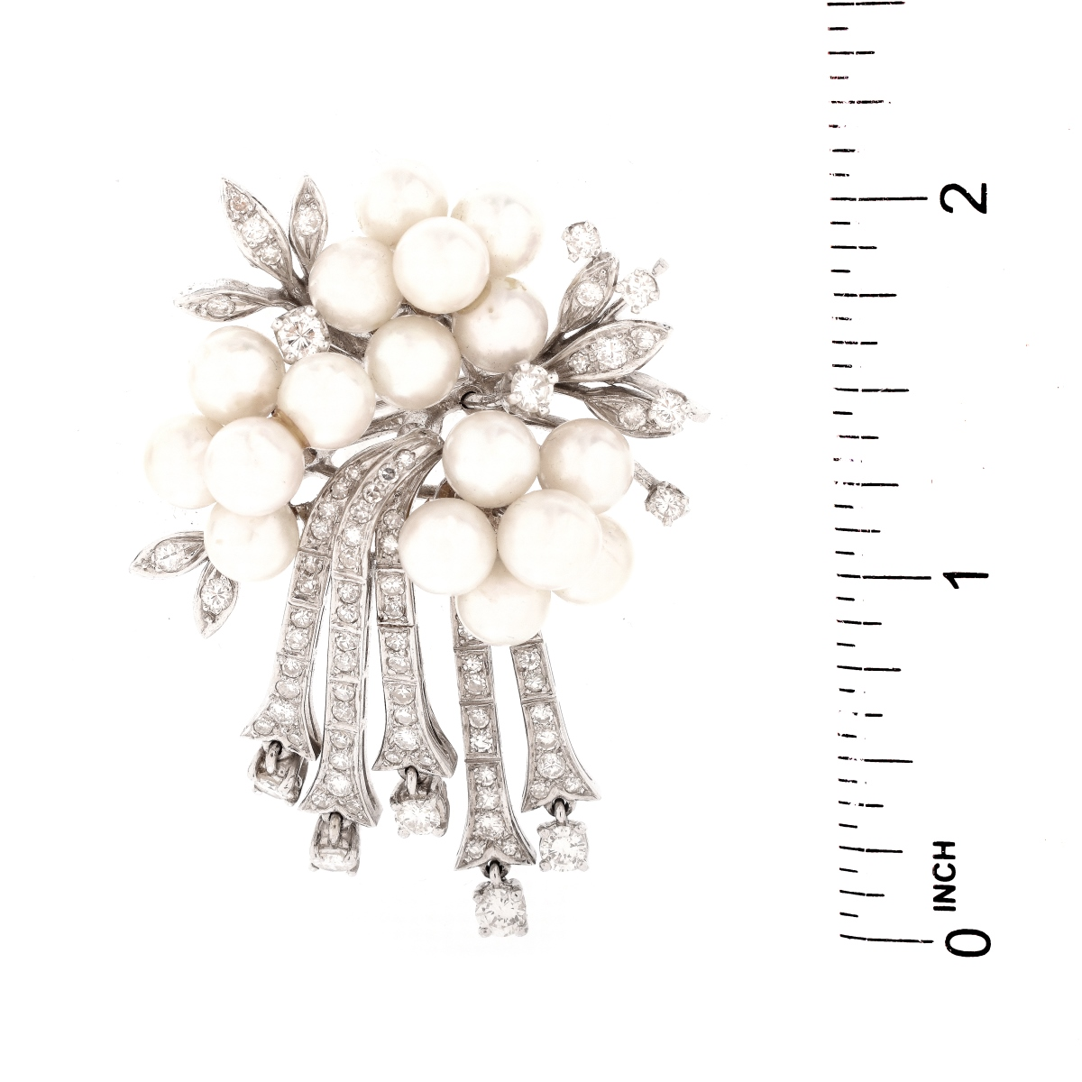 Vintage Diamond, Pearl and 14K Brooch
