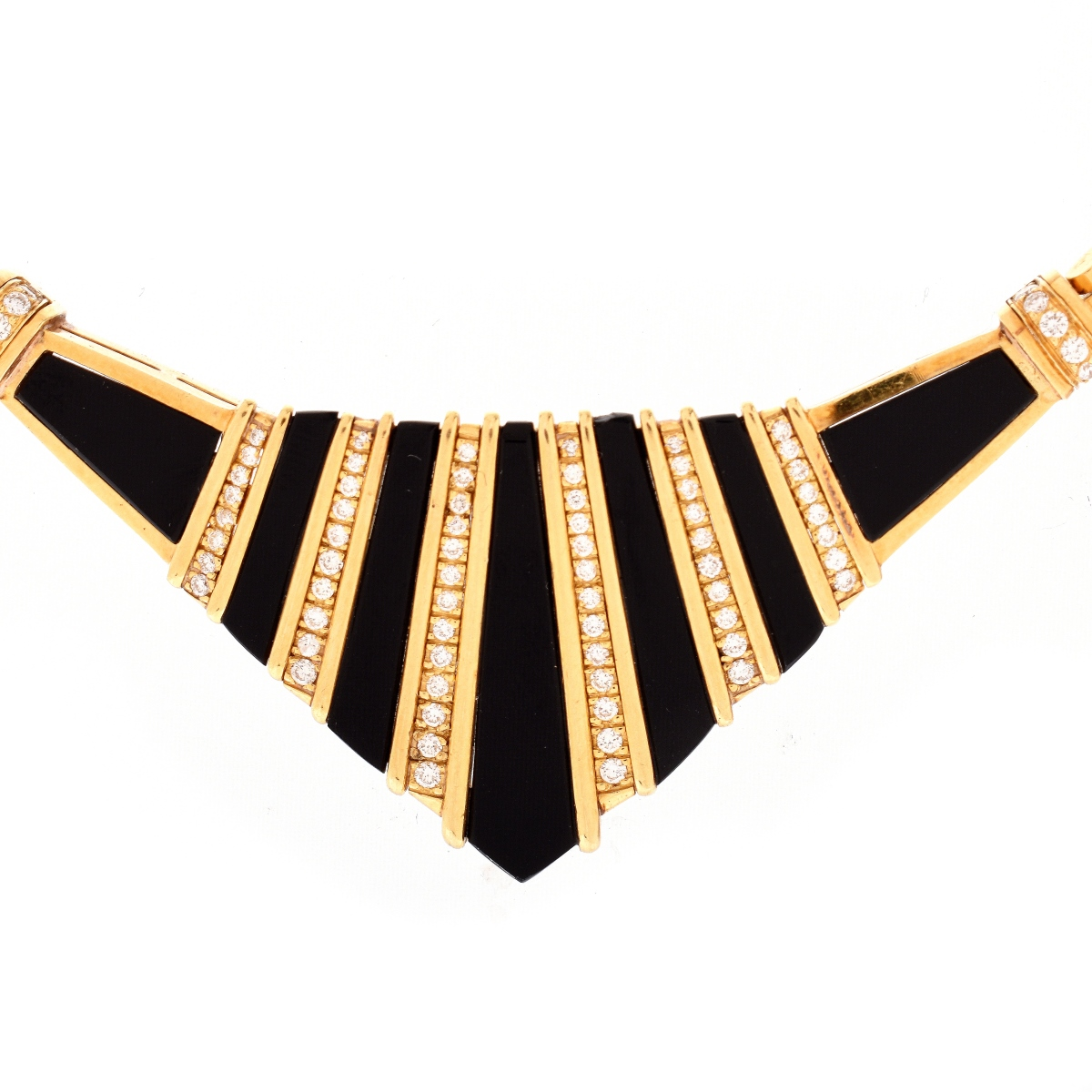 Vintage Diamond, Onyx and 18K Necklace