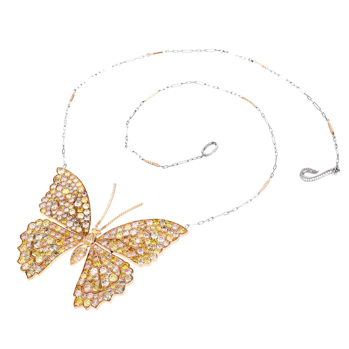 13.26ct TW Diamond and 18K Butterfly Pendant