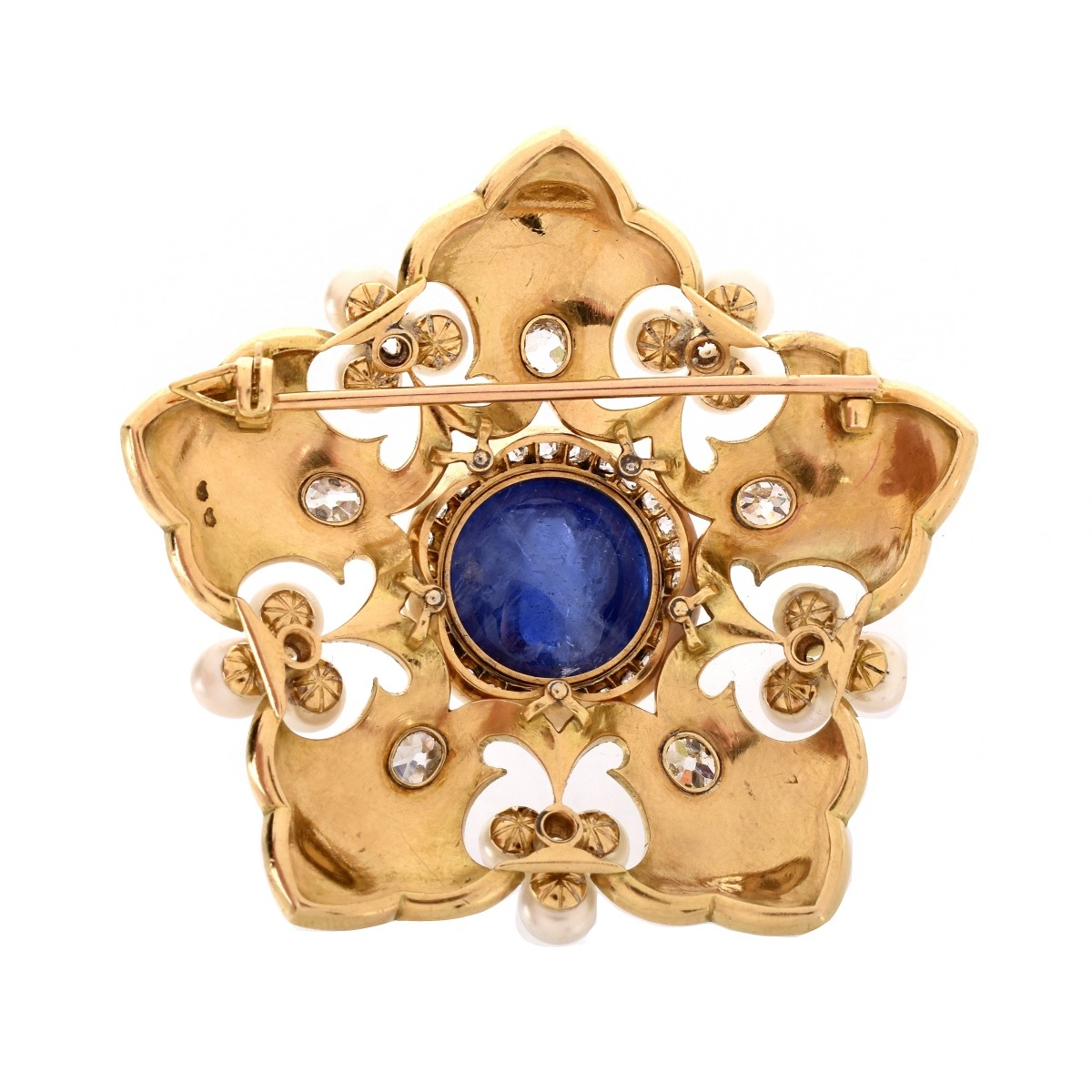 Vintage Cabochon Sapphire and 18K Brooch