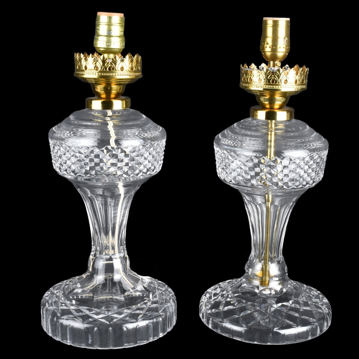 Two Waterford Hurricane Lamps