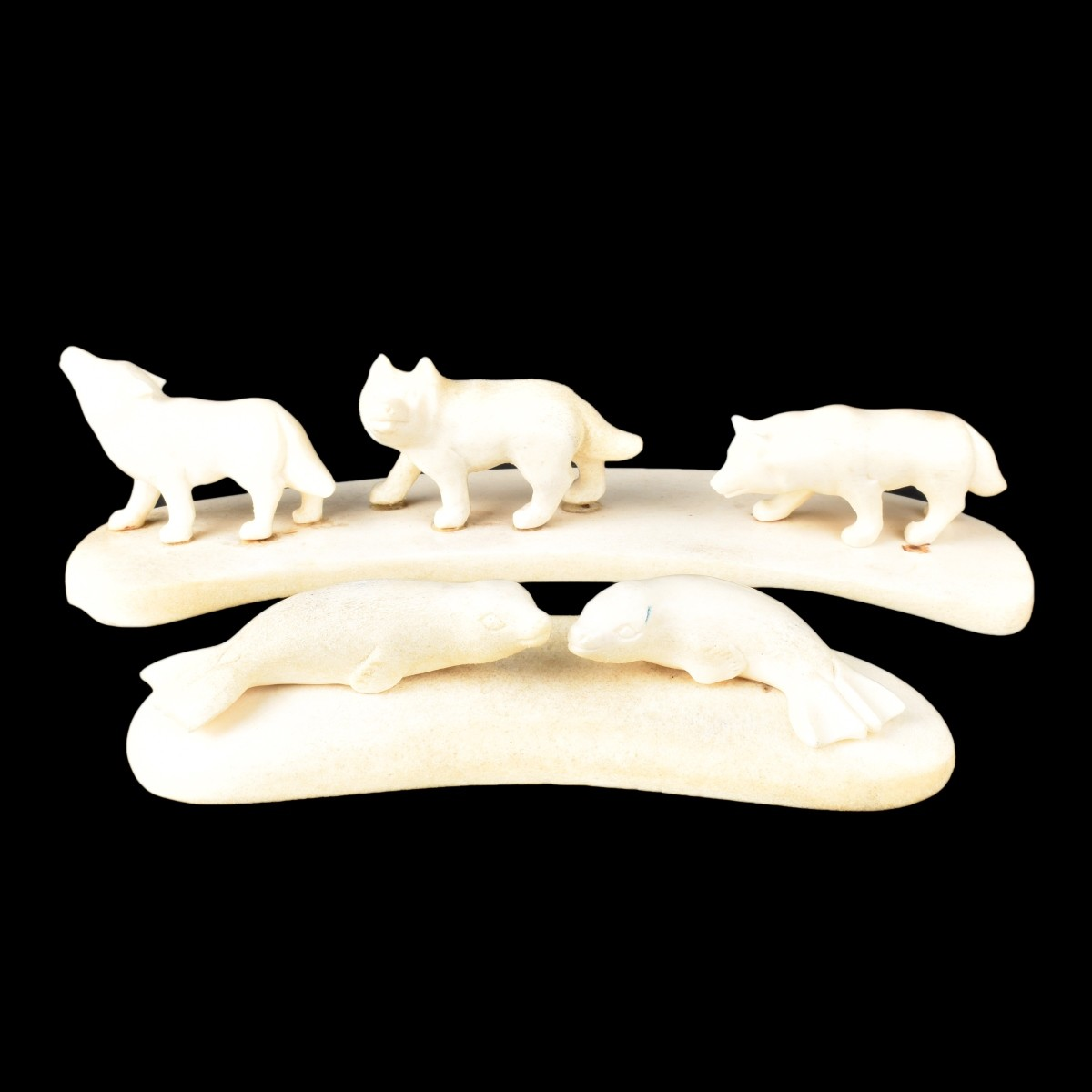 Two Inuit Walrus Ivory Carvings