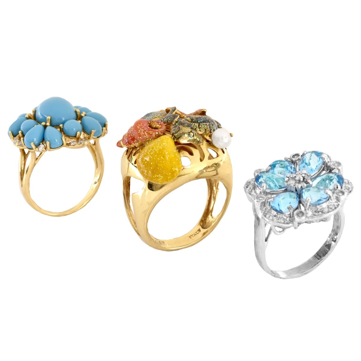 Three 14K Gold Fashion Rings