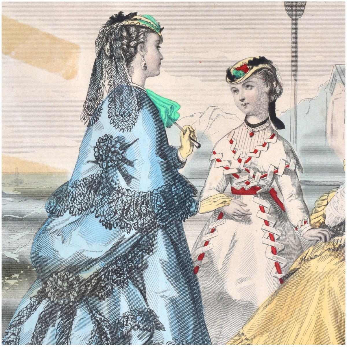 19C Le Follet Hand Colored Fashion Engravings