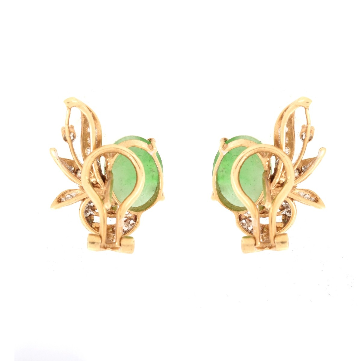 Jade, Diamond and 14K Earrings