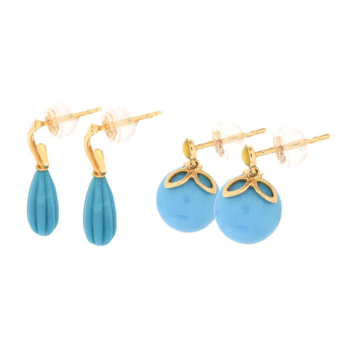 Two Pair Turquoise 18K Gold Earrings