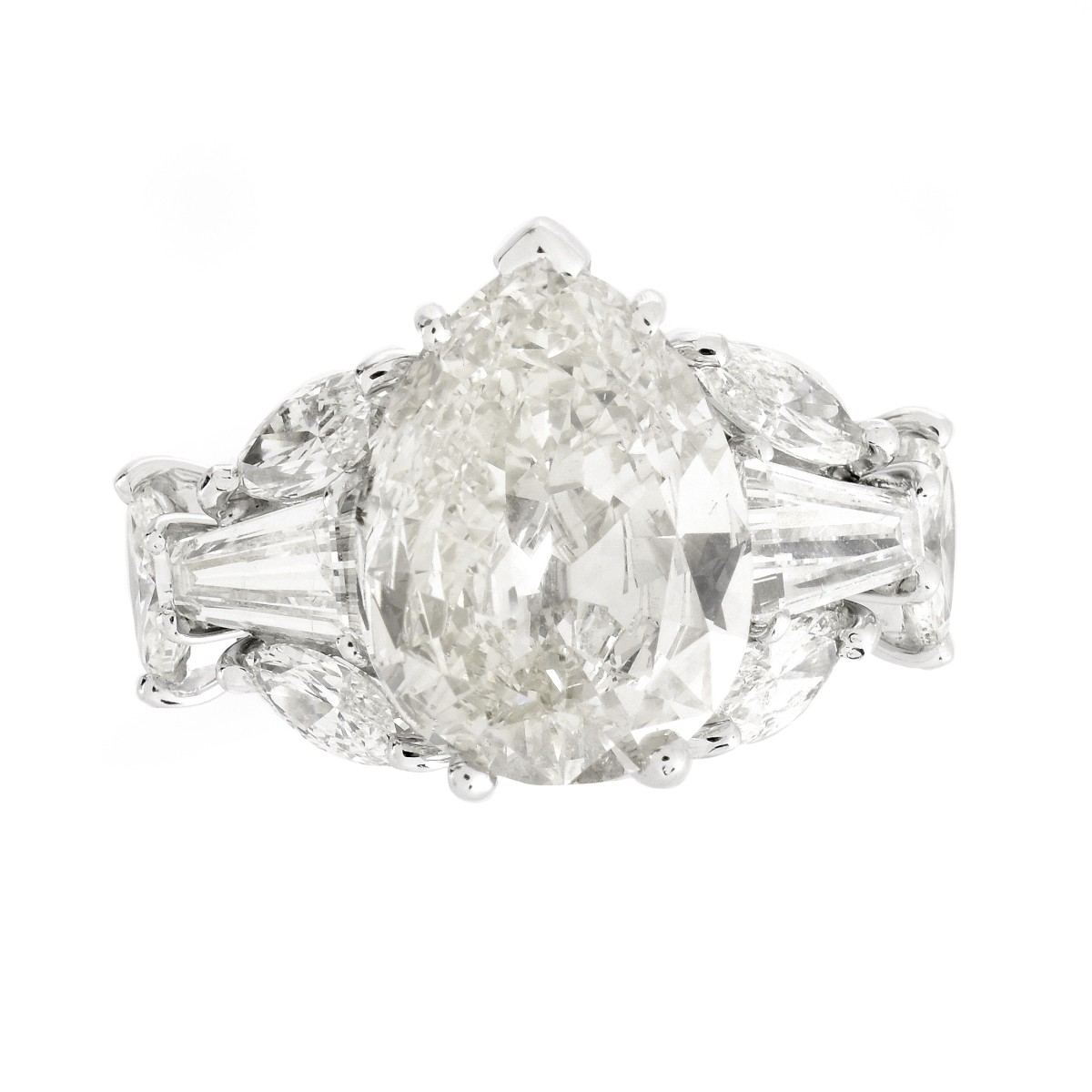 Vintage 4.90ct Pear Shape Diamond Ring