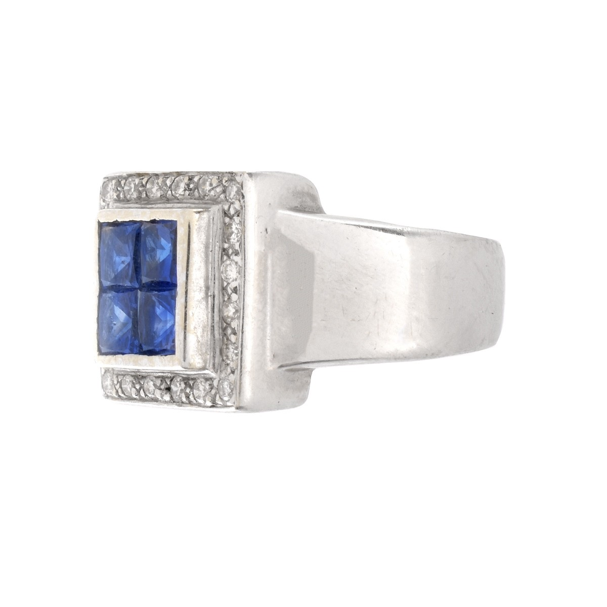 Sapphire, Diamond and 18K Ring