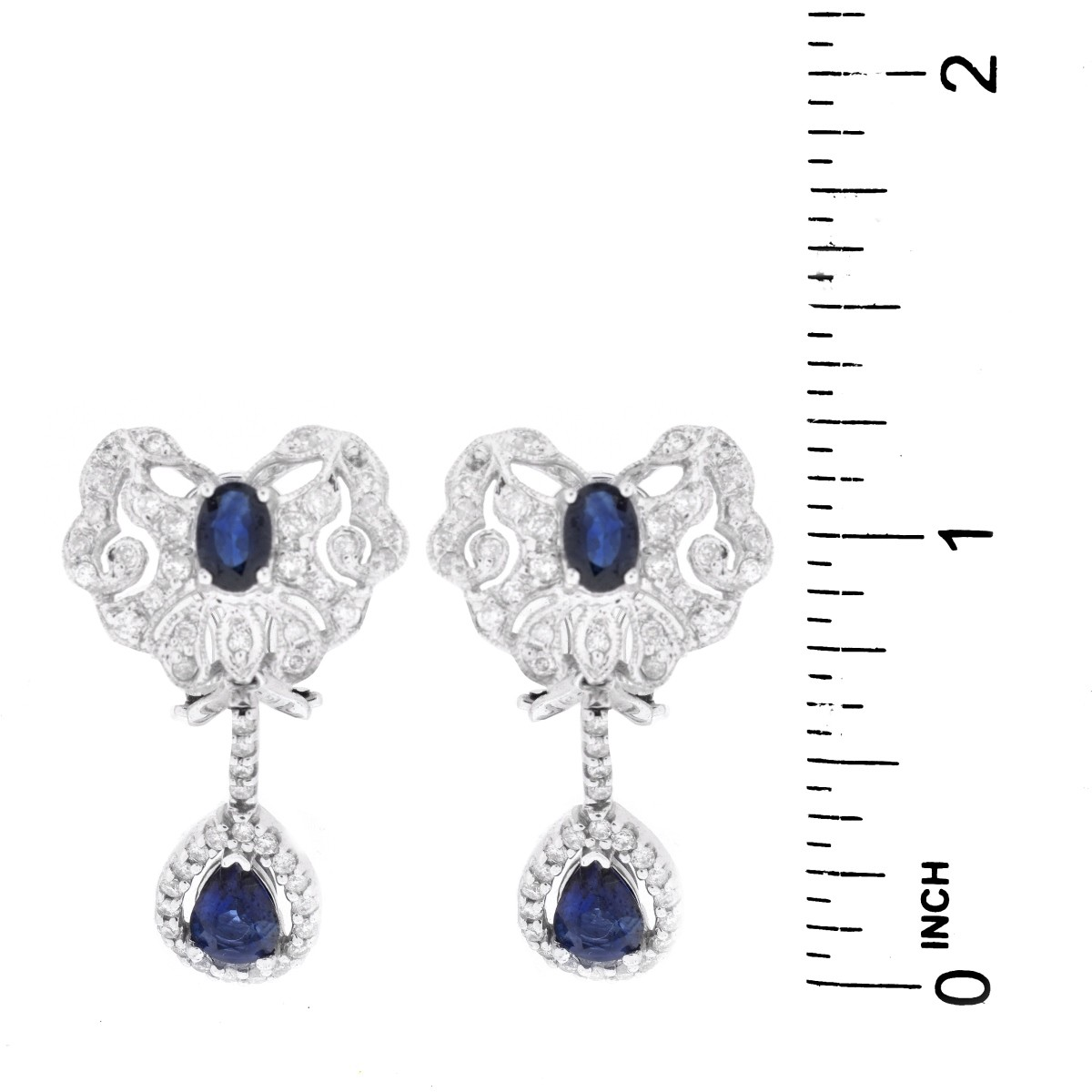 Sapphire, Diamond and 14K Gold Earrings