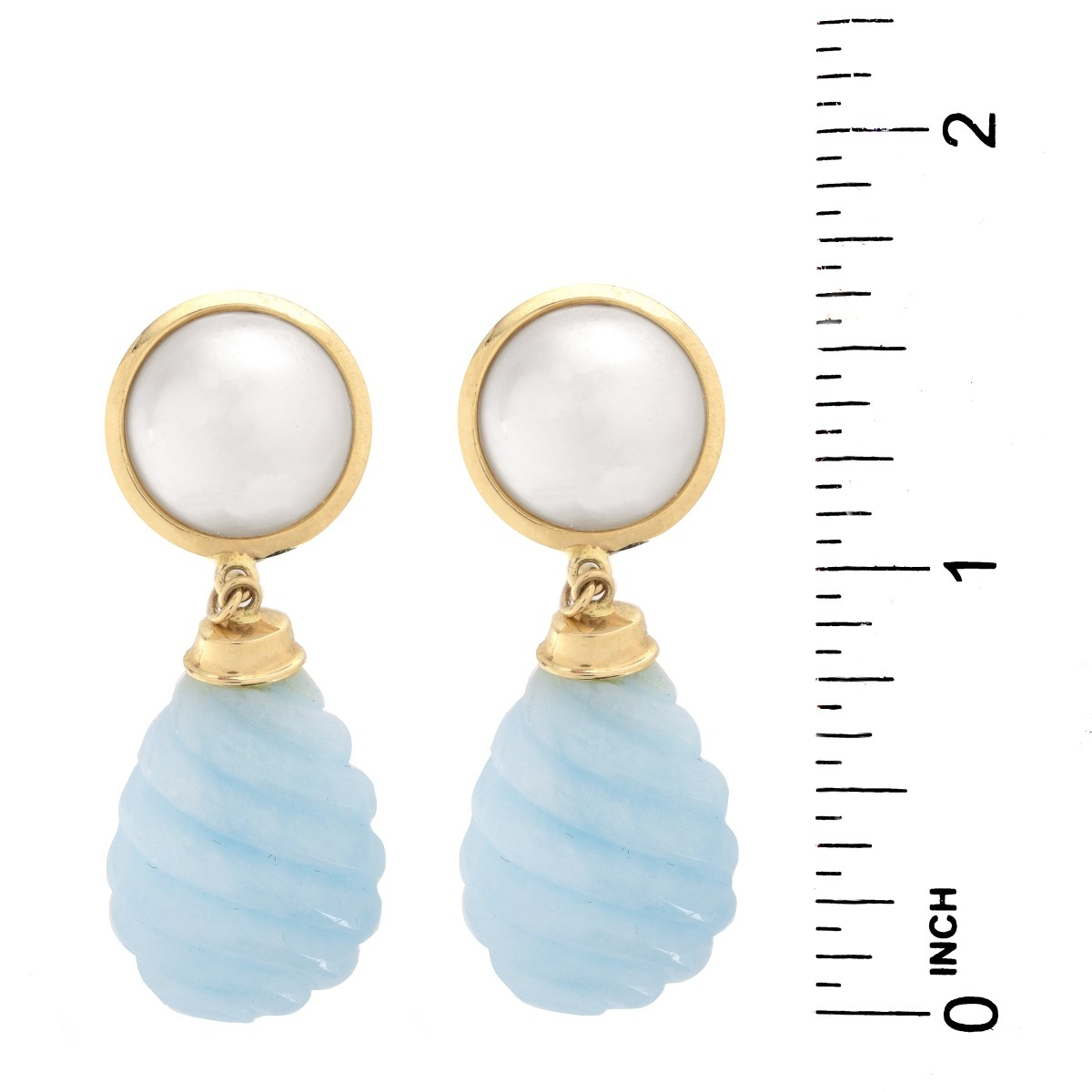 Vintage Mabe Pearl, 14K and Blue Stone Earrings