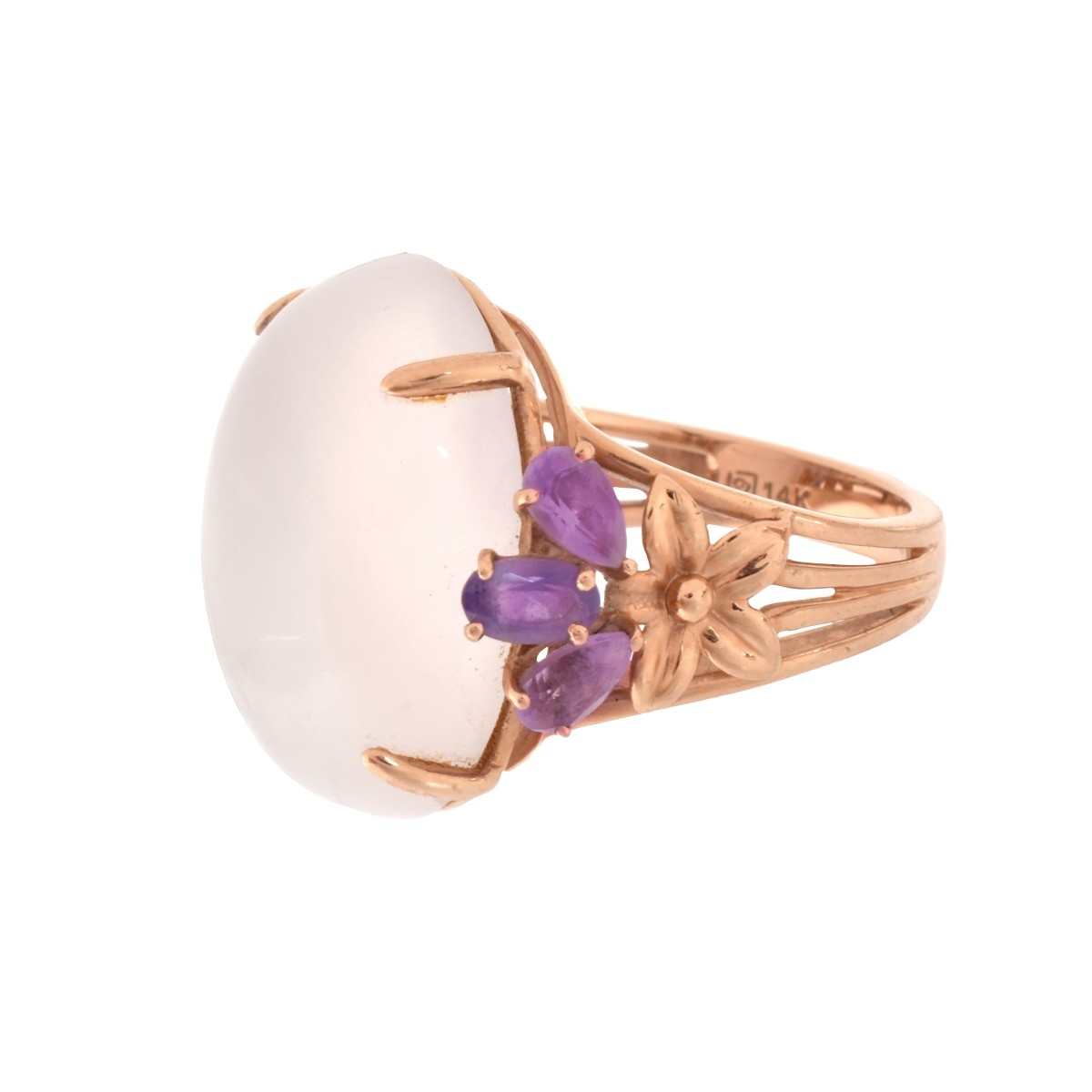 Pink Quartz and 14K Ring