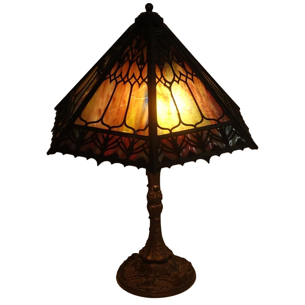 H.A. Best & Company Slag Glass Lamp