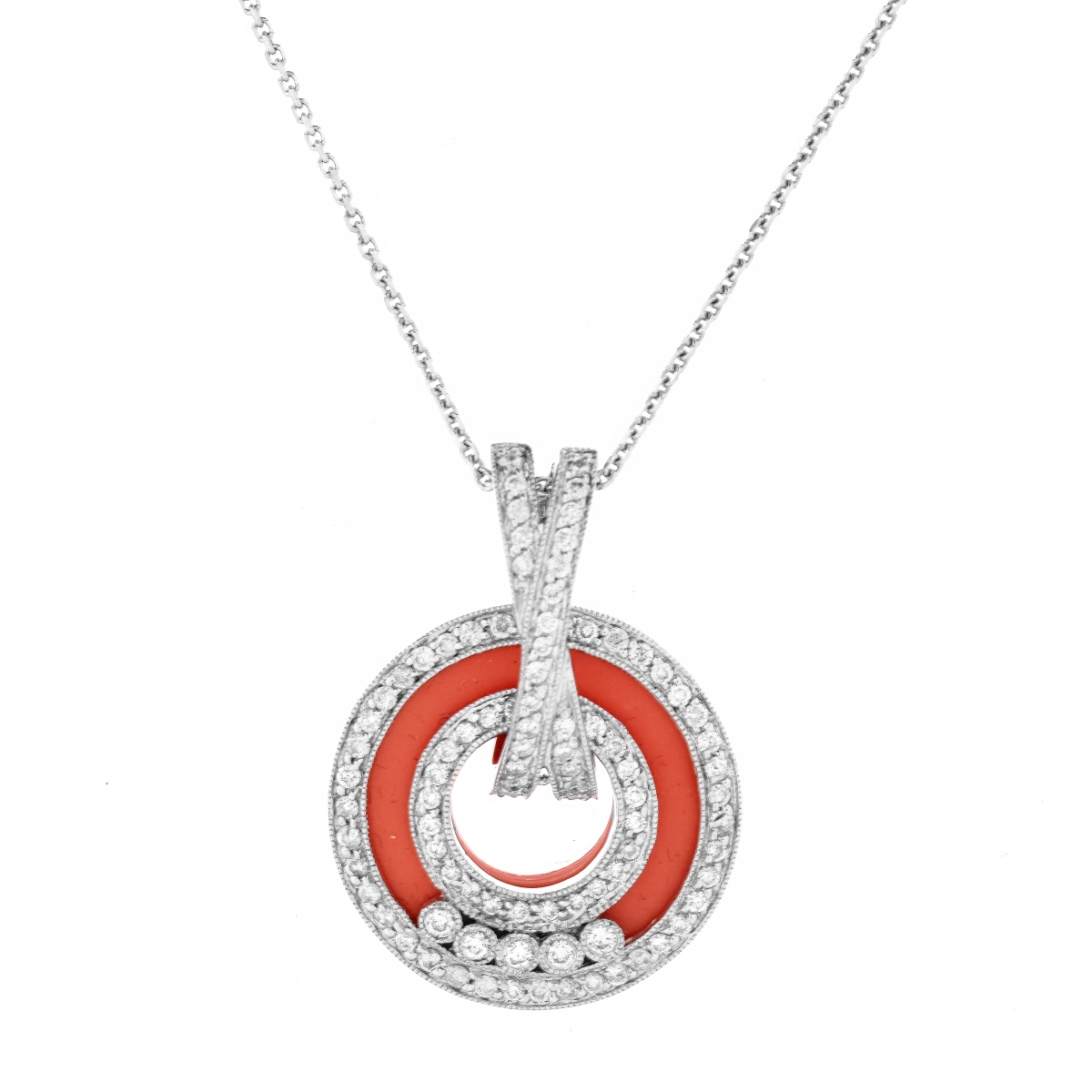 Diamond, Coral and 18K Pendant Necklace