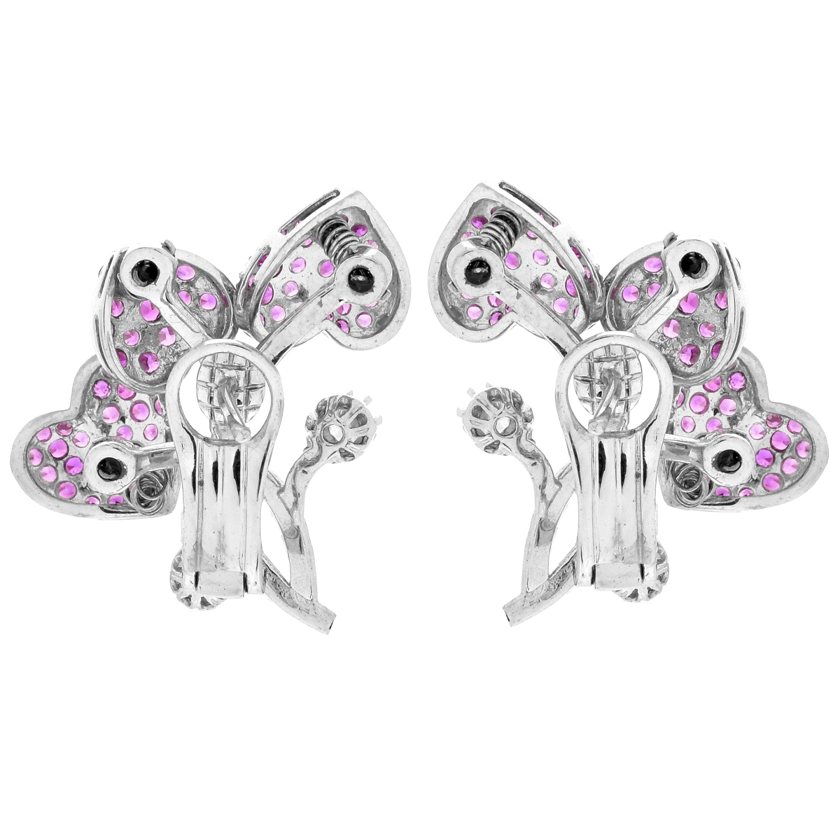 Pink Sapphire, Diamond and 18K Earrings