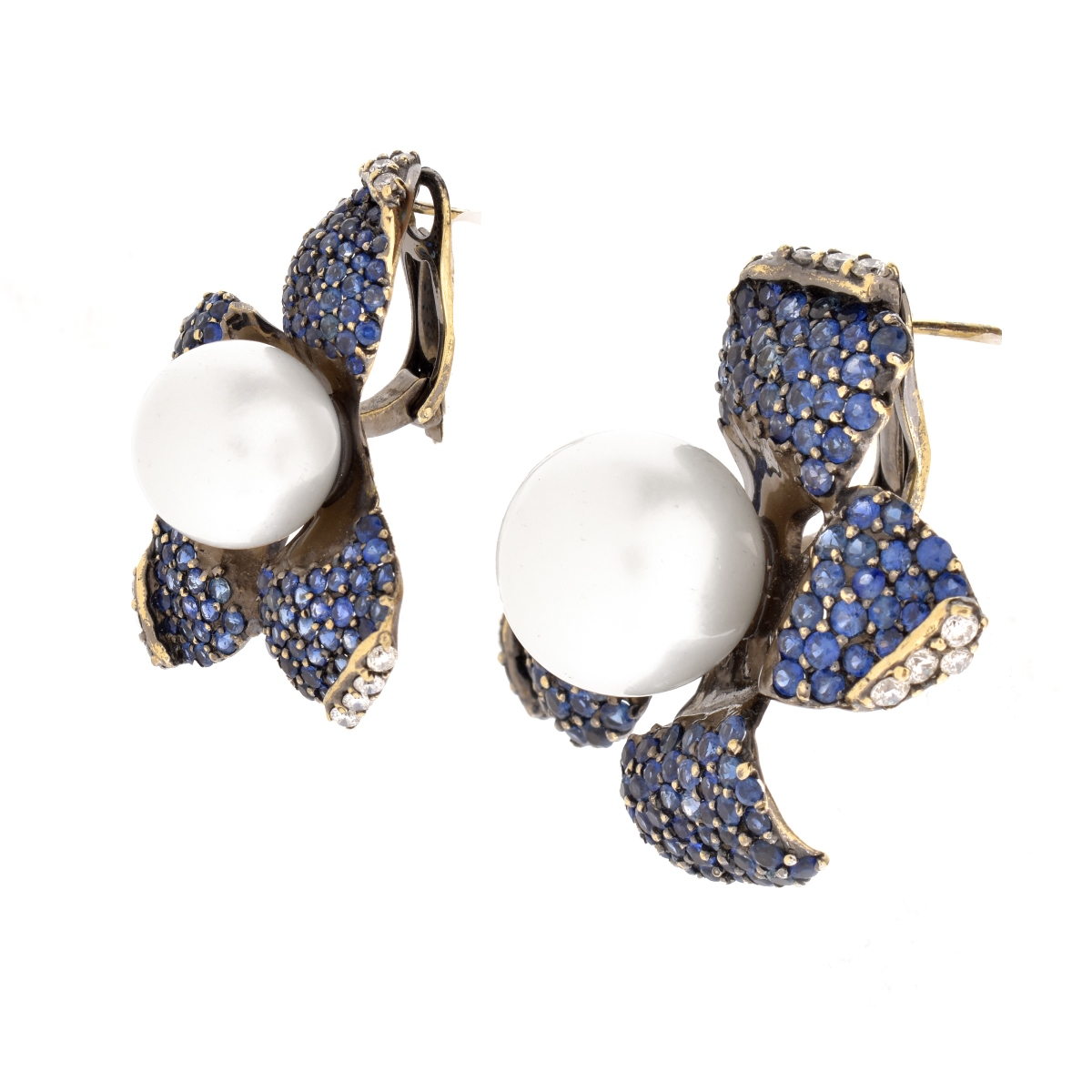 Sapphire, Diamond, Pearl and 18K Earrings.