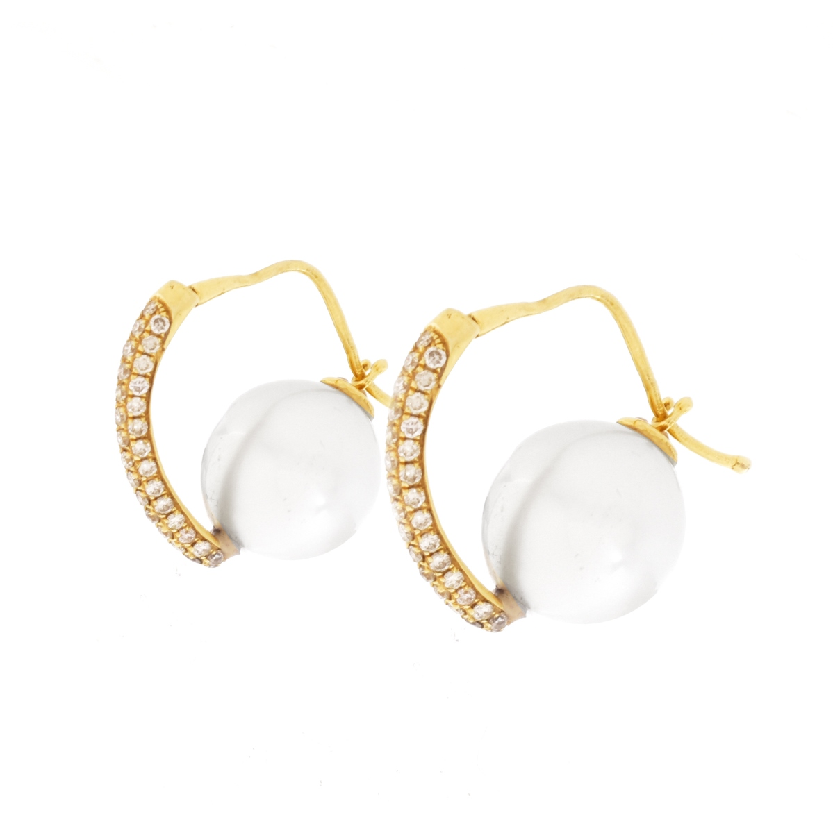 Pearl, Diamond and 14K Earrings
