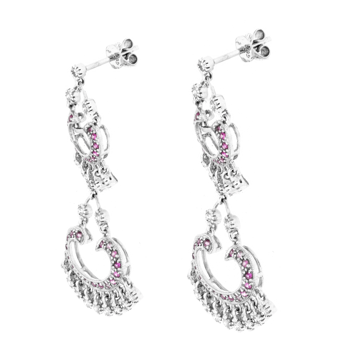 Diamond, Pink Sapphire and 14K Earrings